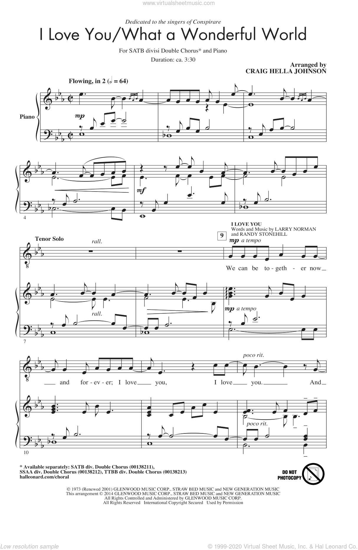 I Love You/What A Wonderful World sheet music for choir (SATB: soprano, alto, tenor, bass) by Larry Norman, Craig Hella Johnson, Conspirare and Randy Stonehill, intermediate skill level