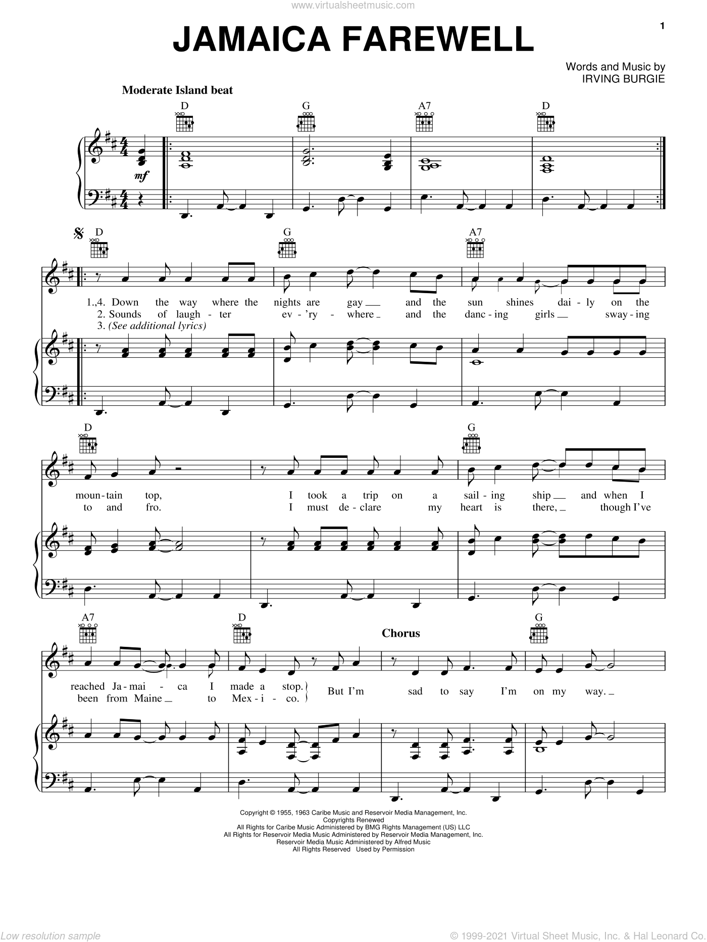 Jamaica Farewell sheet music for voice, piano or guitar by Harry Belafonte and Irving Burgie, intermediate skill level