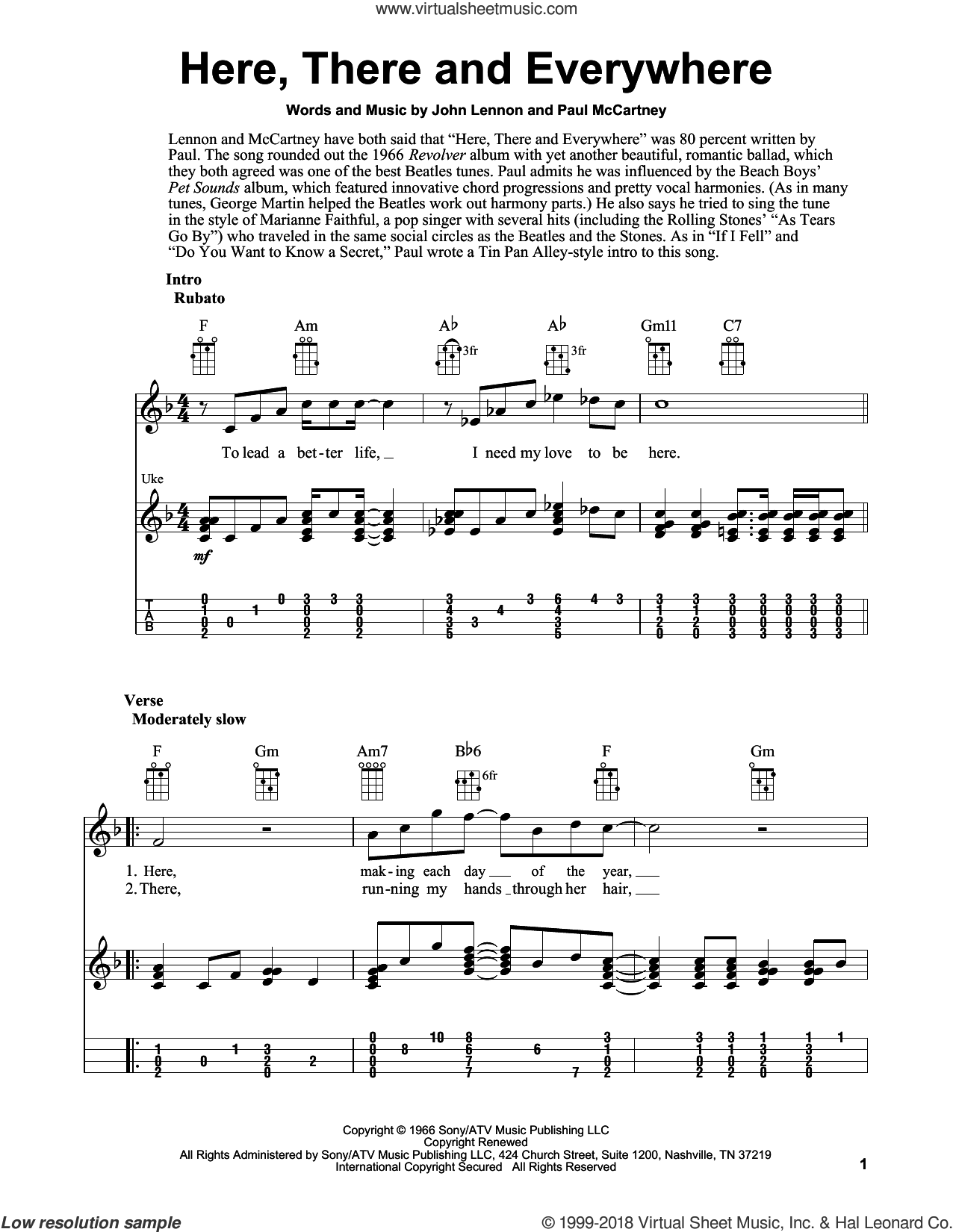 Here, There And Everywhere sheet music for ukulele by The Beatles, Fred Sokolow, George Benson, John Lennon and Paul McCartney, intermediate skill level