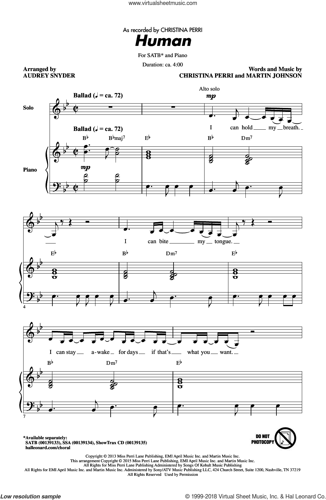 Human sheet music for choir (SATB) by Audrey Snyder, Christina Perri and Martin Johnson. Score Image Preview.