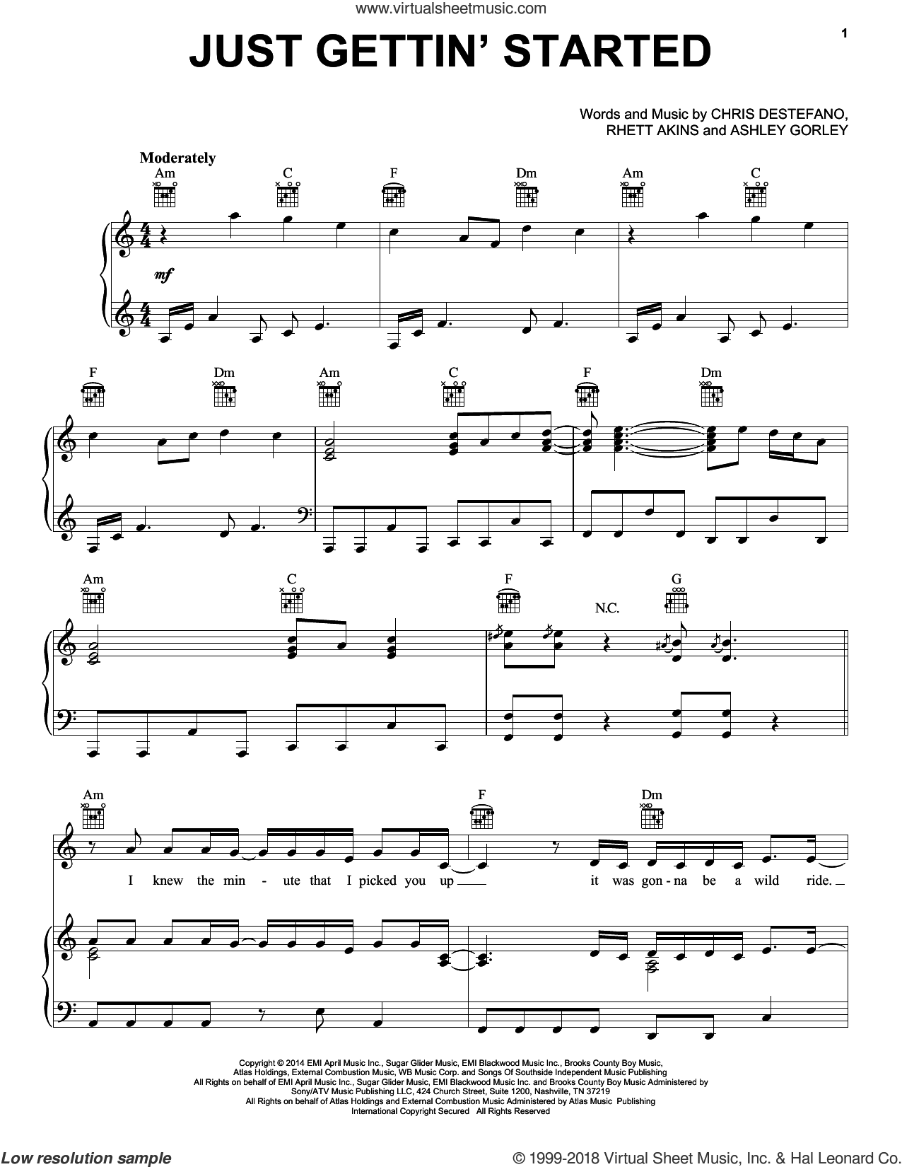 Just Gettin' Started sheet music for voice, piano or guitar by Jason Aldean, Ashley Gorley, Chris Destefano and Rhett Atkins, intermediate skill level