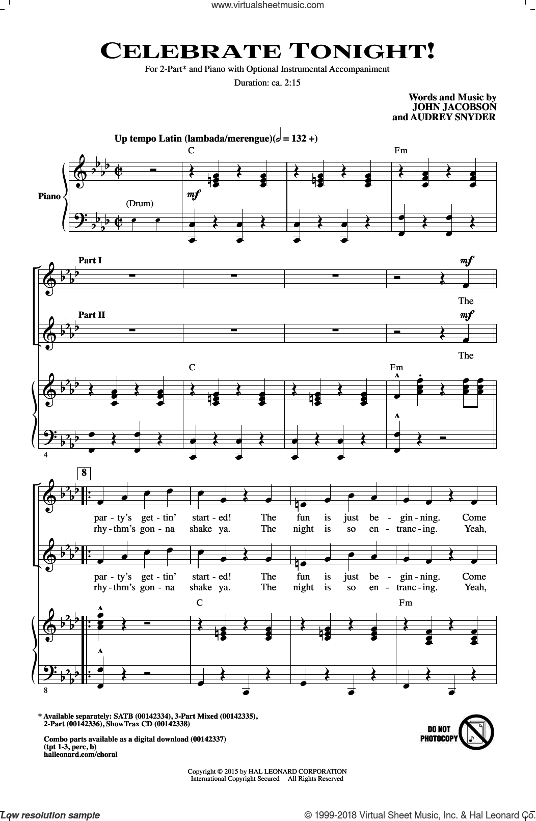 Celebrate Tonight! sheet music for choir (2-Part) by Audrey Snyder and John Jacobson, intermediate duet. Score Image Preview.