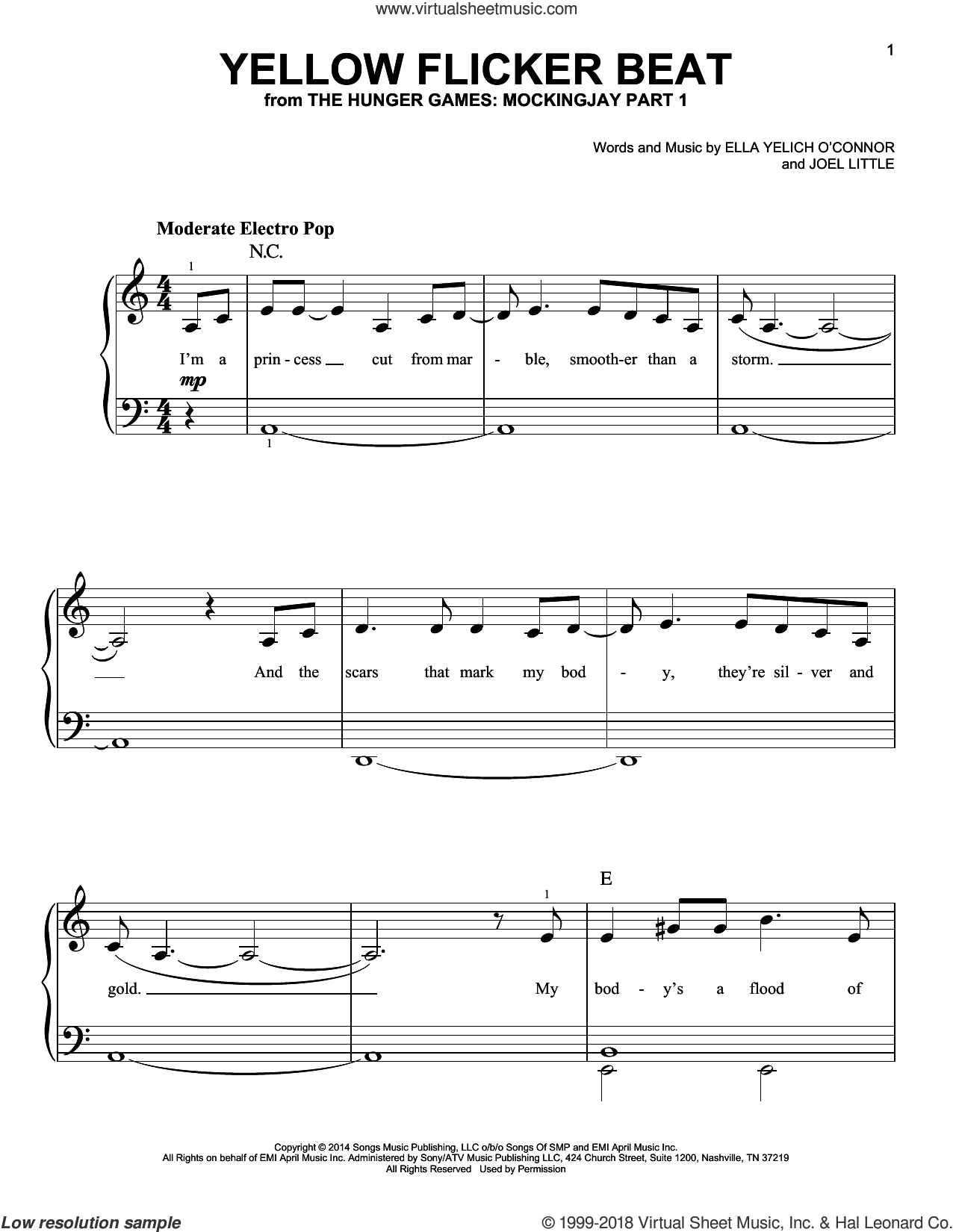 Yellow Flicker Beat sheet music for piano solo by Lorde and Joel Little, easy skill level