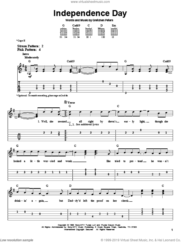 Independence Day sheet music for guitar solo (easy tablature) by Martina McBride and Gretchen Peters, easy guitar (easy tablature). Score Image Preview.