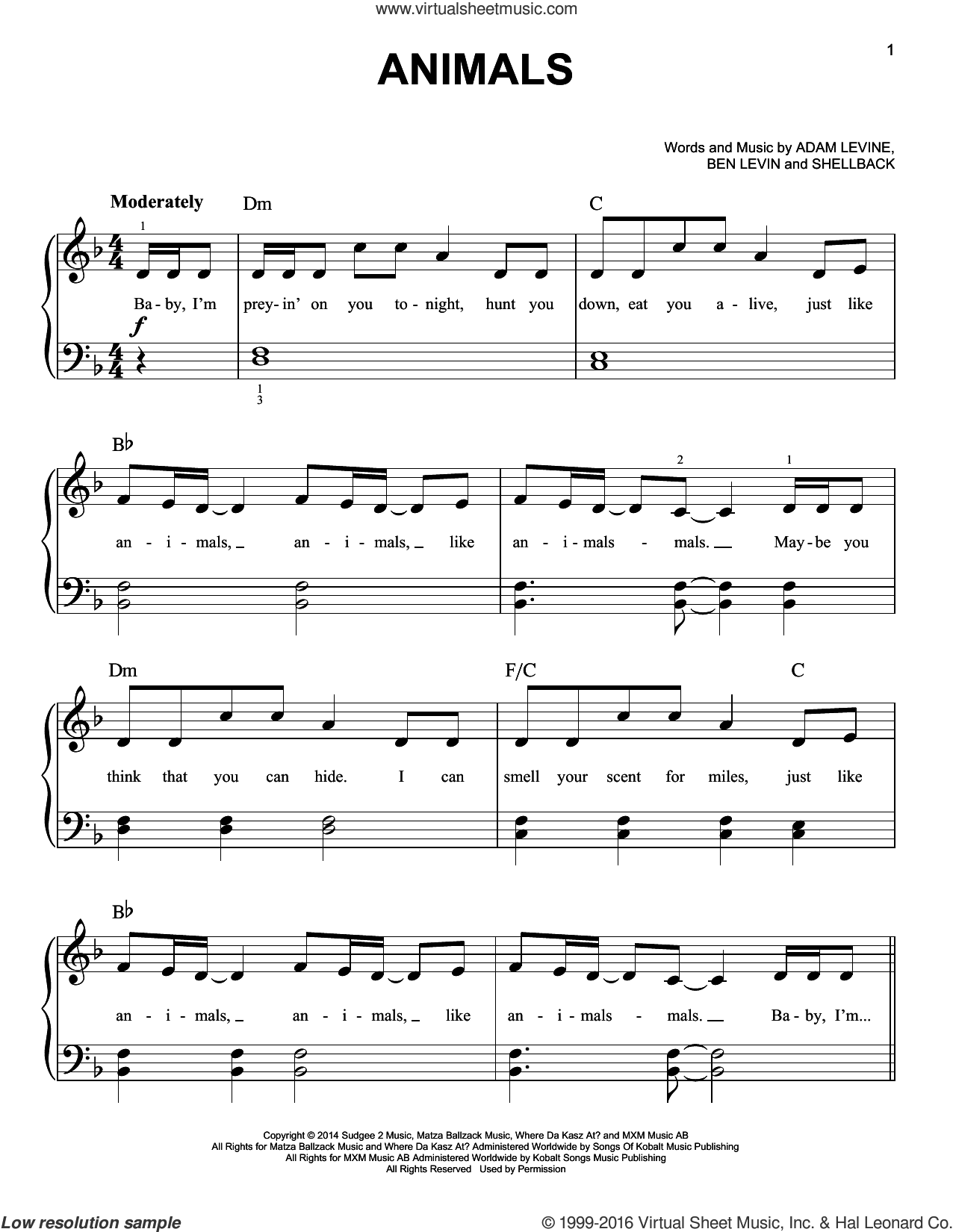 Animals sheet music for piano solo by Maroon 5, Adam Levine, Benjamin Levin and Shellback, easy skill level