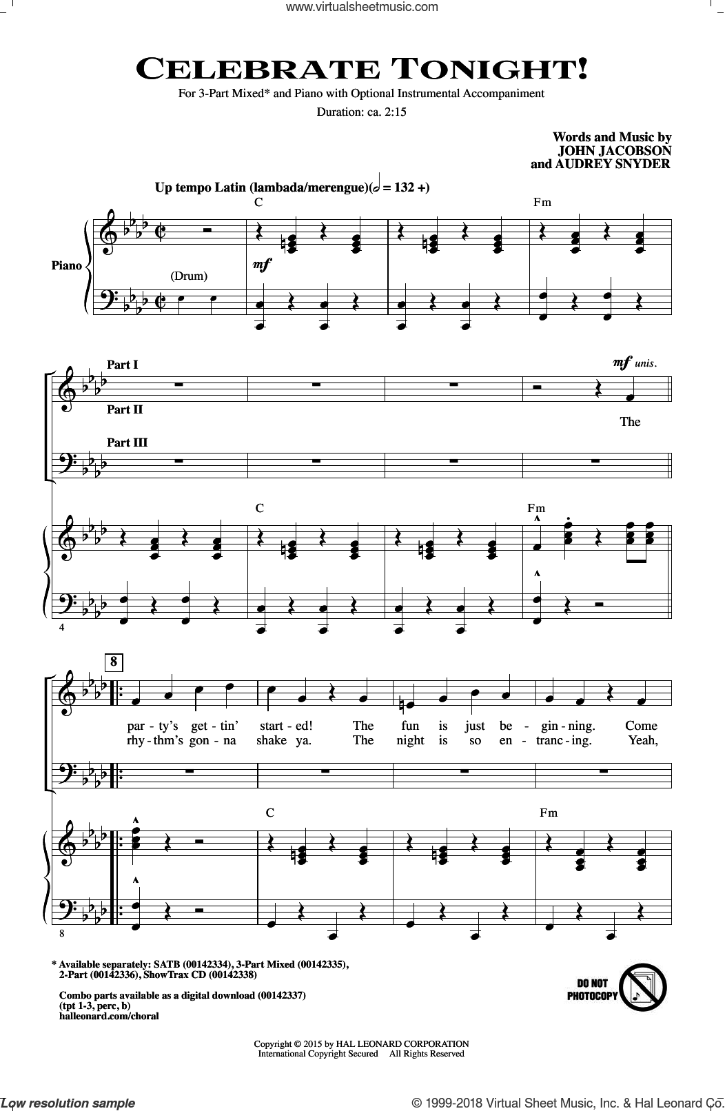 Celebrate Tonight! sheet music for choir (3-Part Mixed) by Audrey Snyder and John Jacobson, intermediate