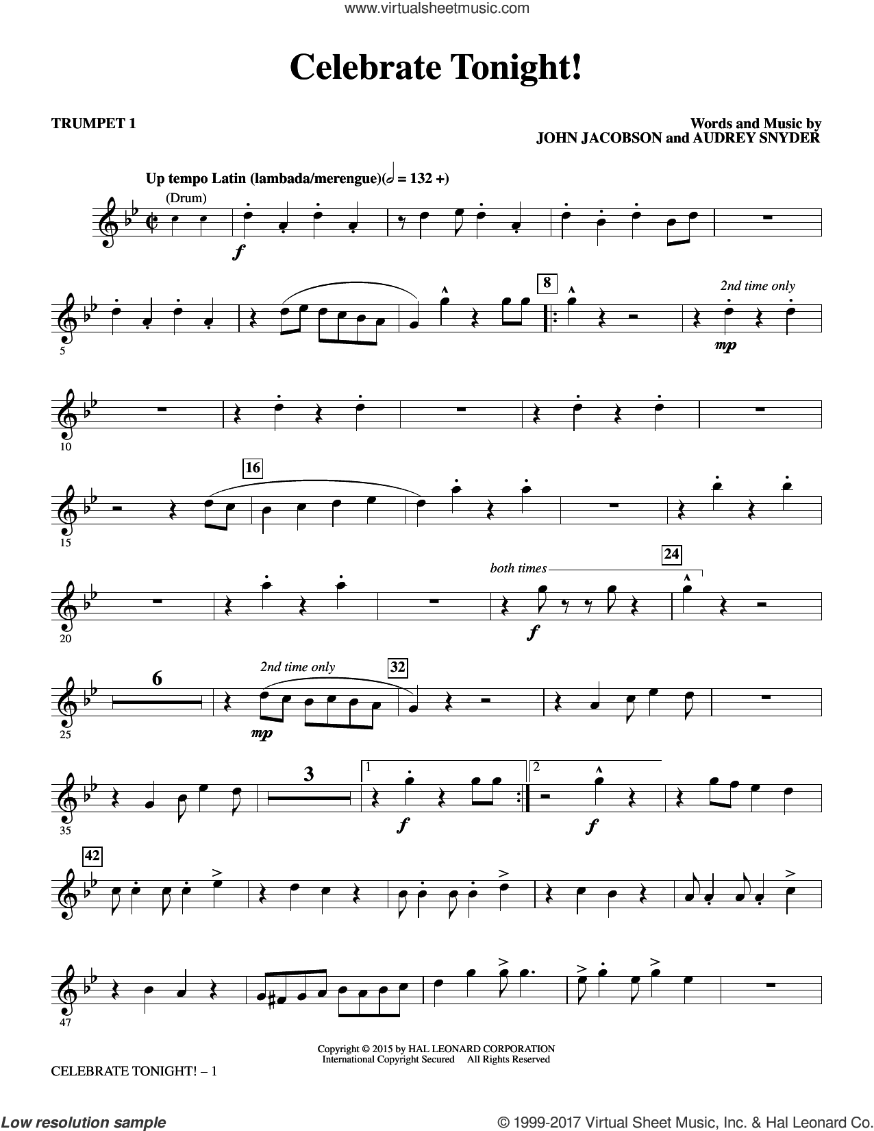 Celebrate Tonight! (complete set of parts) sheet music for orchestra/band by Audrey Snyder and John Jacobson, intermediate skill level
