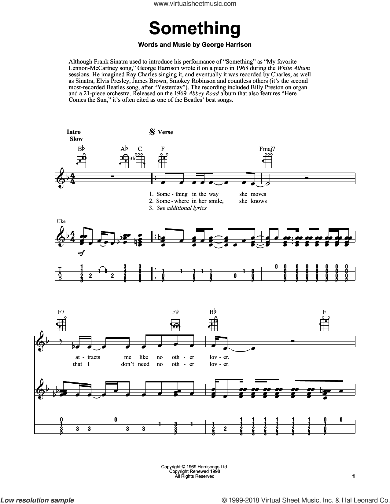 Something sheet music for ukulele by The Beatles, Fred Sokolow and George Harrison, intermediate skill level