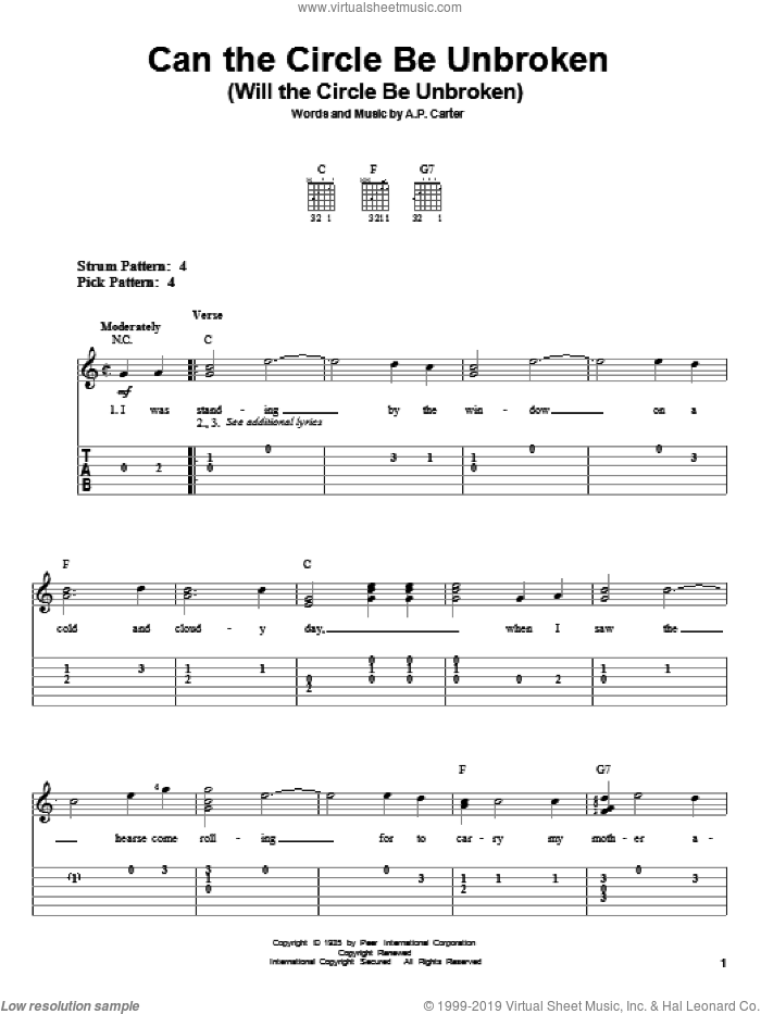Can The Circle Be Unbroken (Will The Circle Be Unbroken) sheet music for guitar solo (easy tablature) by The Carter Family and A.P. Carter, easy guitar (easy tablature)