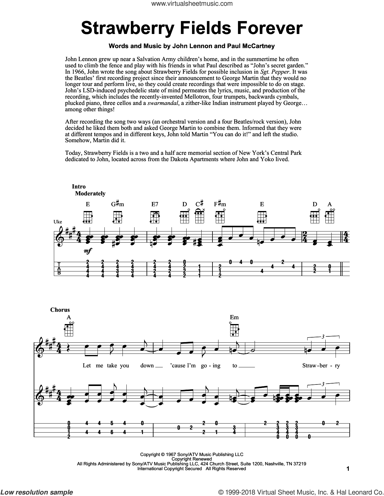 Strawberry Fields Forever sheet music for ukulele by The Beatles, Fred Sokolow, John Lennon and Paul McCartney, intermediate skill level