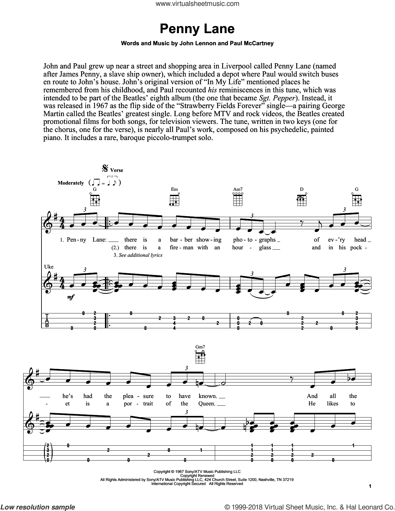 Penny Lane sheet music for ukulele by The Beatles, Fred Sokolow, John Lennon and Paul McCartney, intermediate skill level