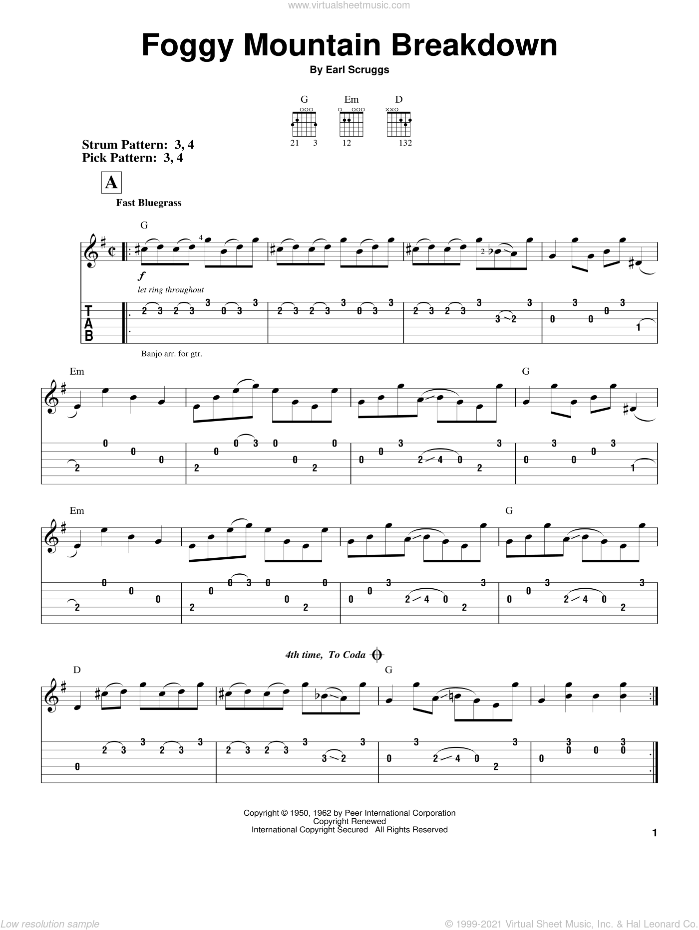 Foggy Mountain Breakdown sheet music for guitar solo (easy tablature) by Flatt & Scruggs, Lester Flatt and Earl Scruggs, easy guitar (easy tablature). Score Image Preview.