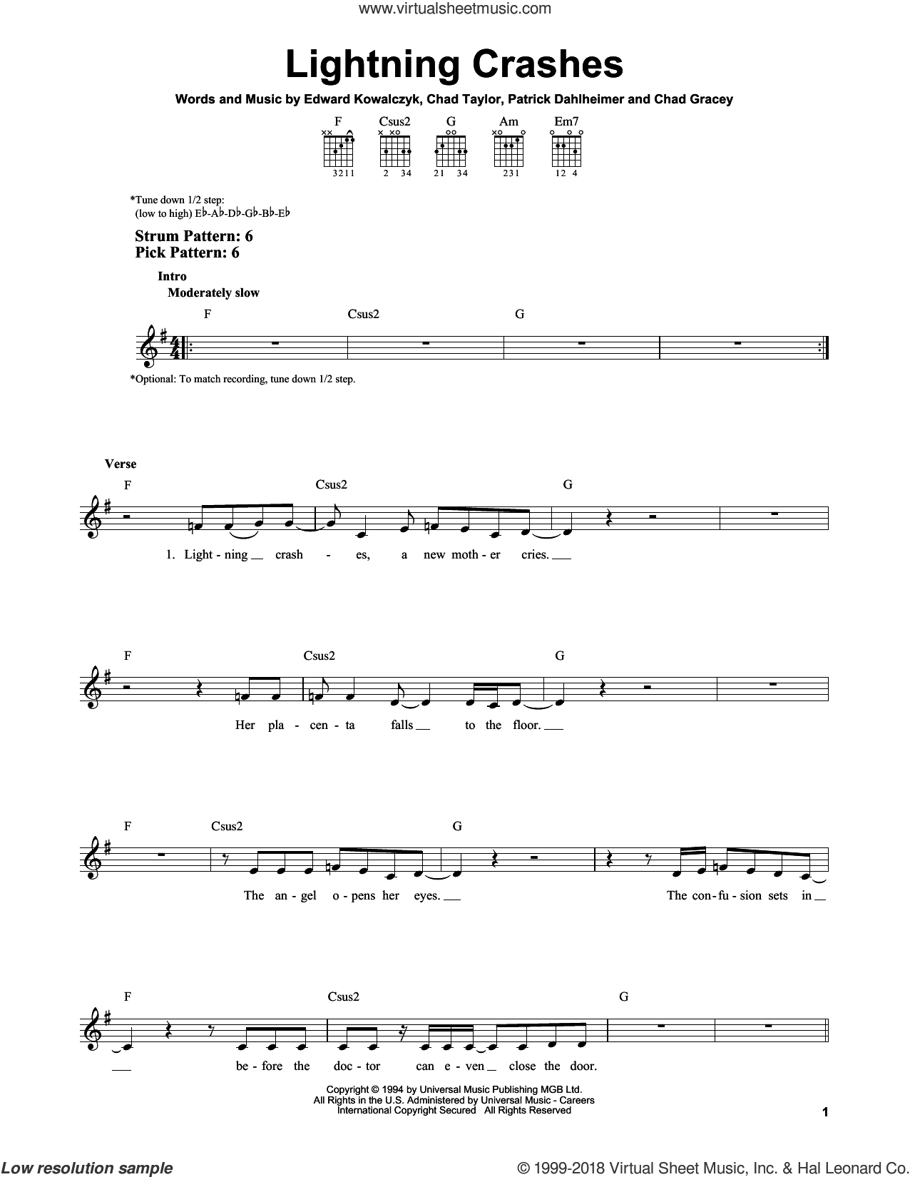 Lightning Crashes sheet music for guitar solo (chords) by Patrick Dahlheimer, Live, Chad Taylor and Edward Kowalczyk. Score Image Preview.