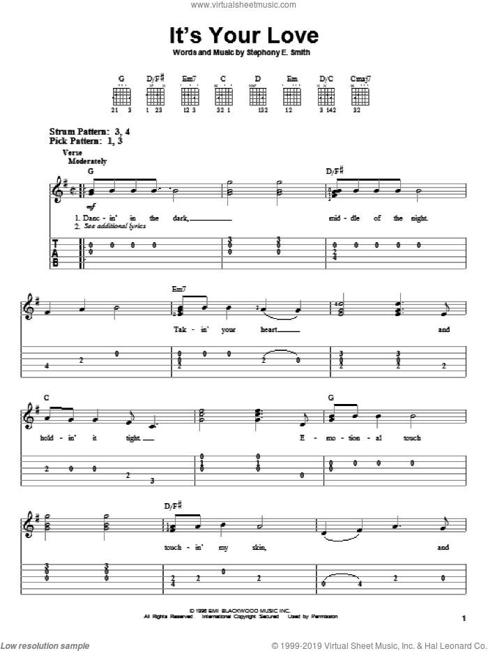 It's Your Love sheet music for guitar solo (easy tablature) by Faith Hill with Tim McGraw, Faith Hill, Tim McGraw and Stephony E. Smith, wedding score, easy guitar (easy tablature)