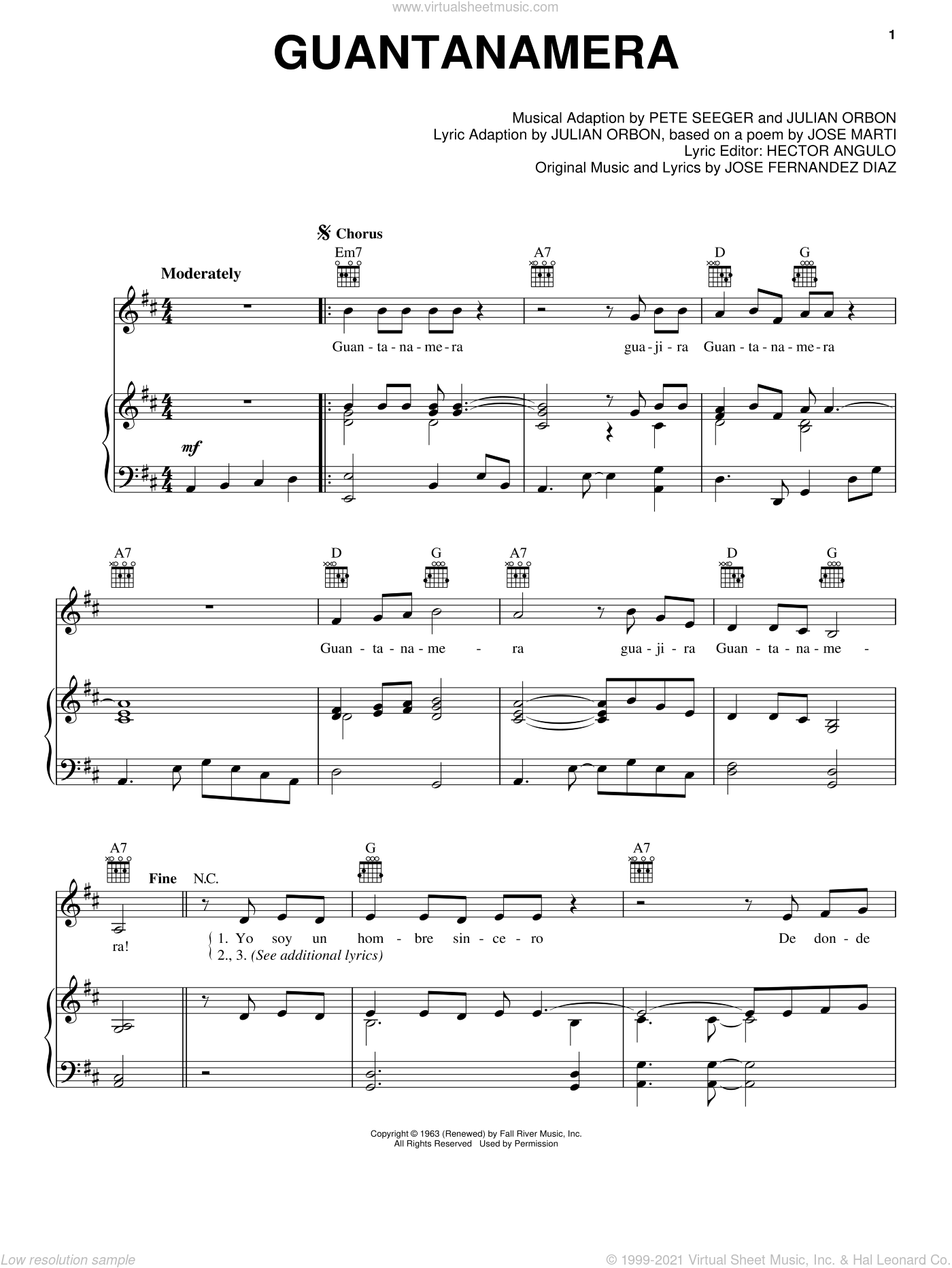 Guantanamera sheet music for voice, piano or guitar by Pete Seeger and Julian Orbon. Score Image Preview.