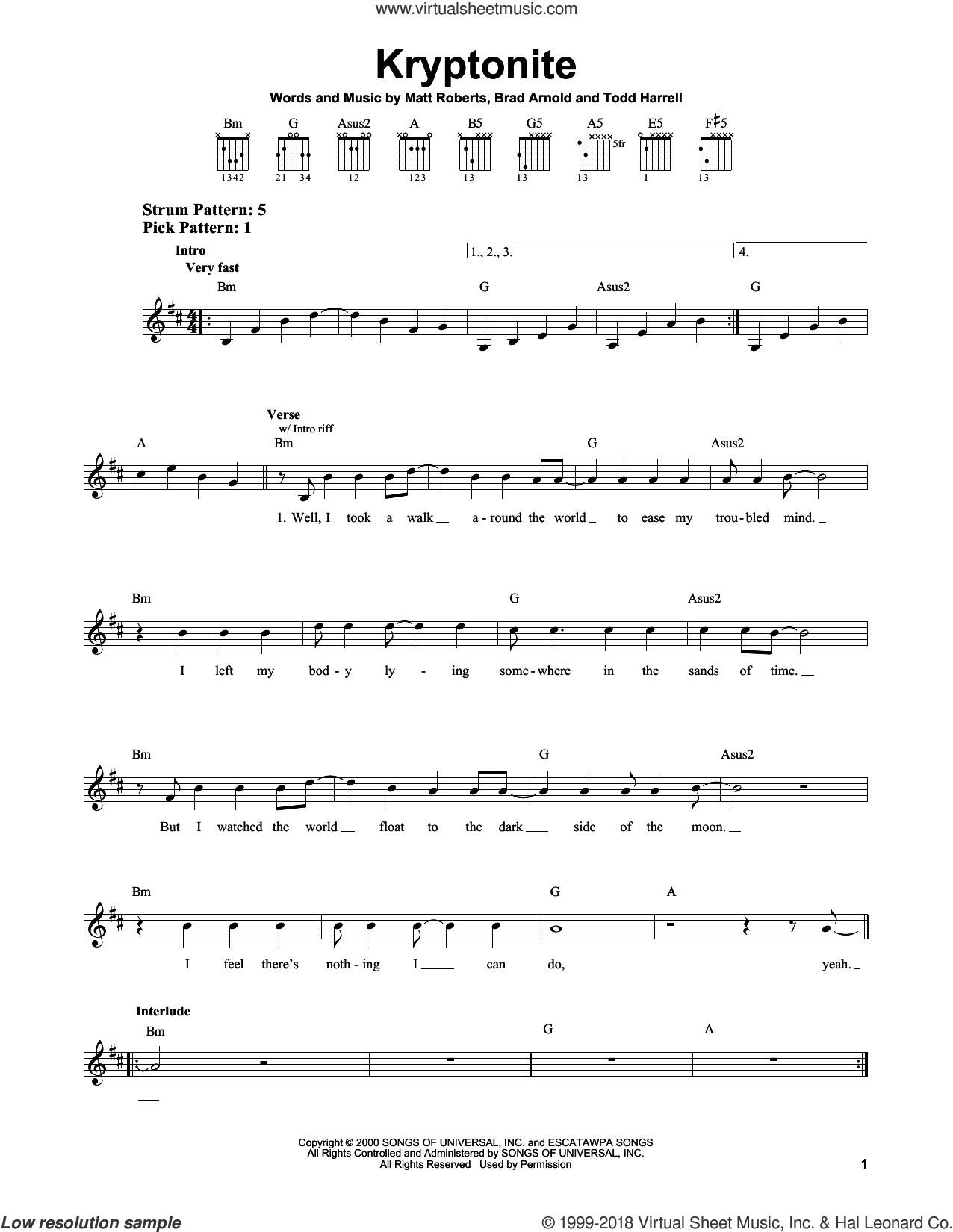 Kryptonite sheet music for guitar solo (chords) by 3 Doors Down, Brad Arnold, Matt Roberts and Todd Harrell, easy guitar (chords)