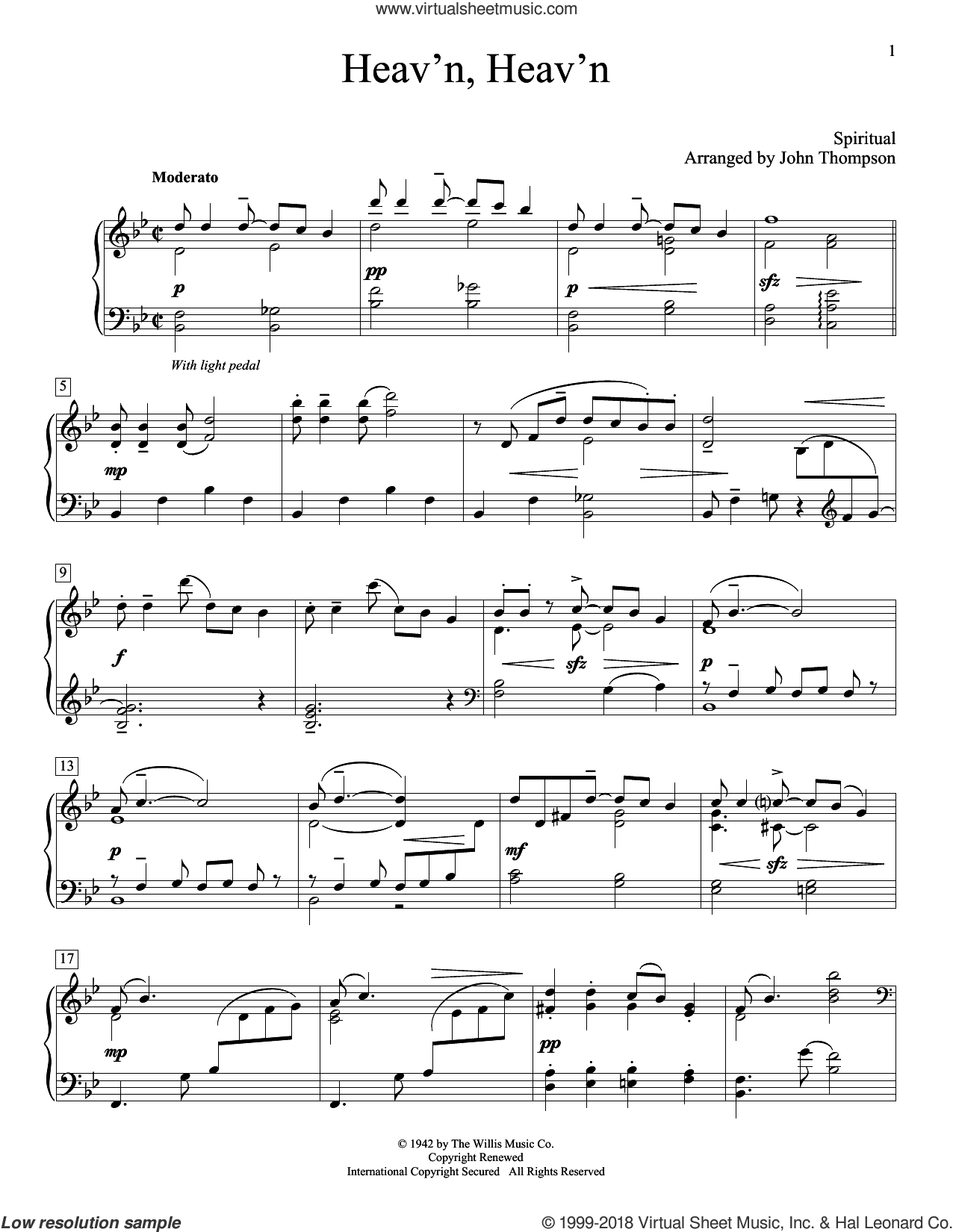 Heav'n, Heav'n sheet music for piano solo (elementary) by John Thompson, beginner piano (elementary)