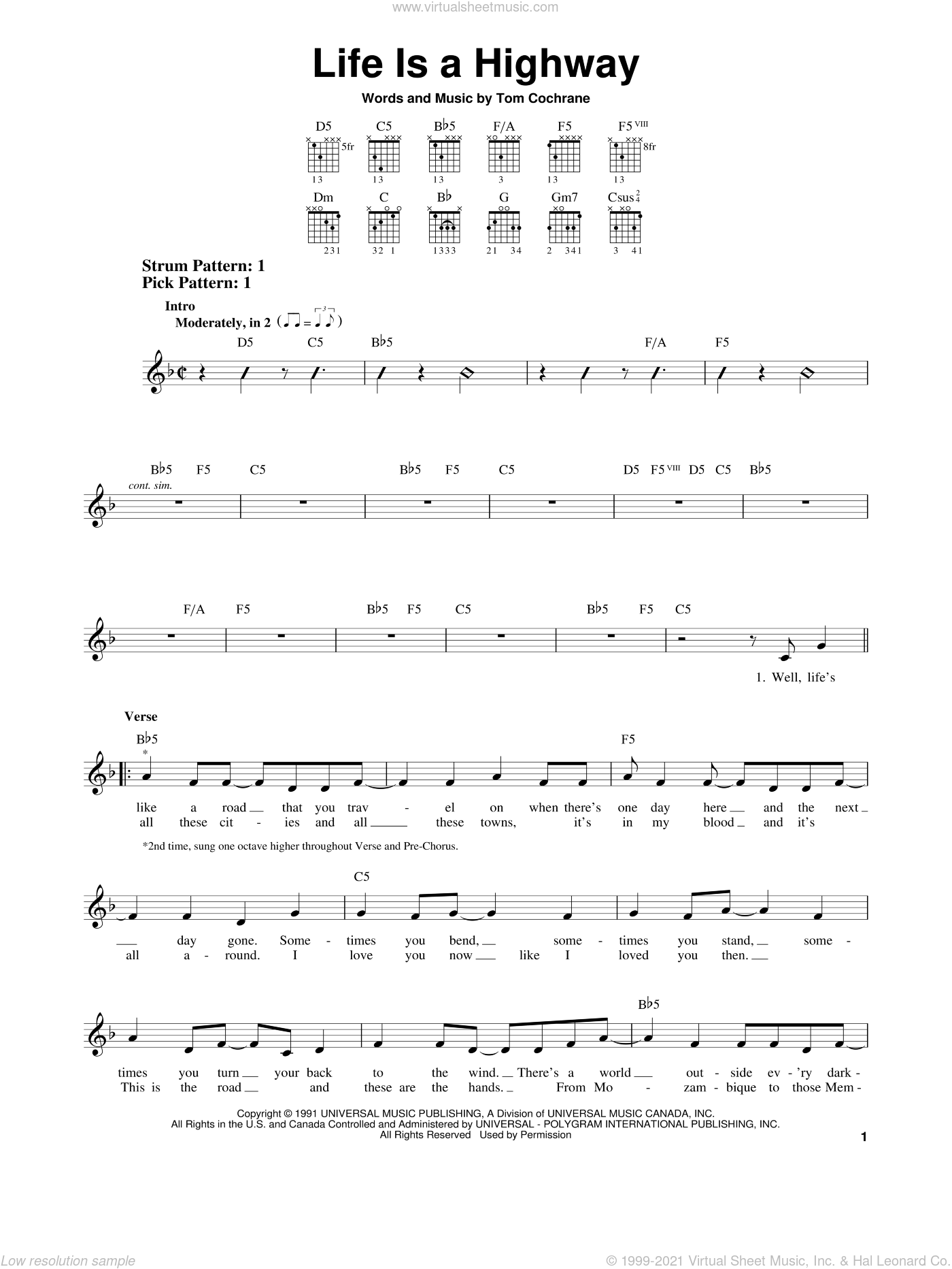 Life Is A Highway sheet music for guitar solo (chords) by Tom Cochrane and Rascal Flatts, easy guitar (chords)