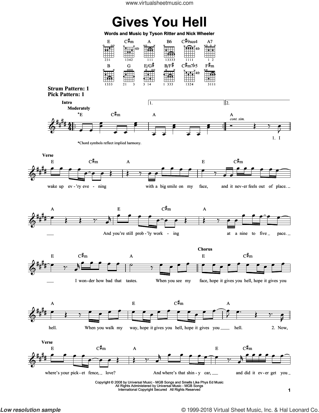 Gives You Hell sheet music for guitar solo (chords) by Tyson Ritter. Score Image Preview.