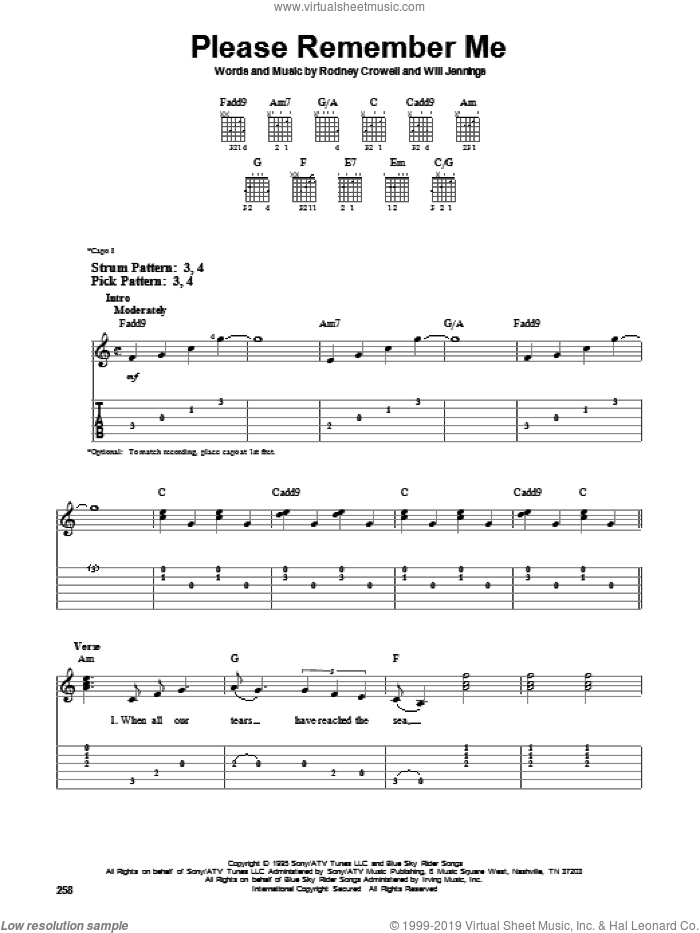 Please Remember Me sheet music for guitar solo (easy tablature) by Will Jennings