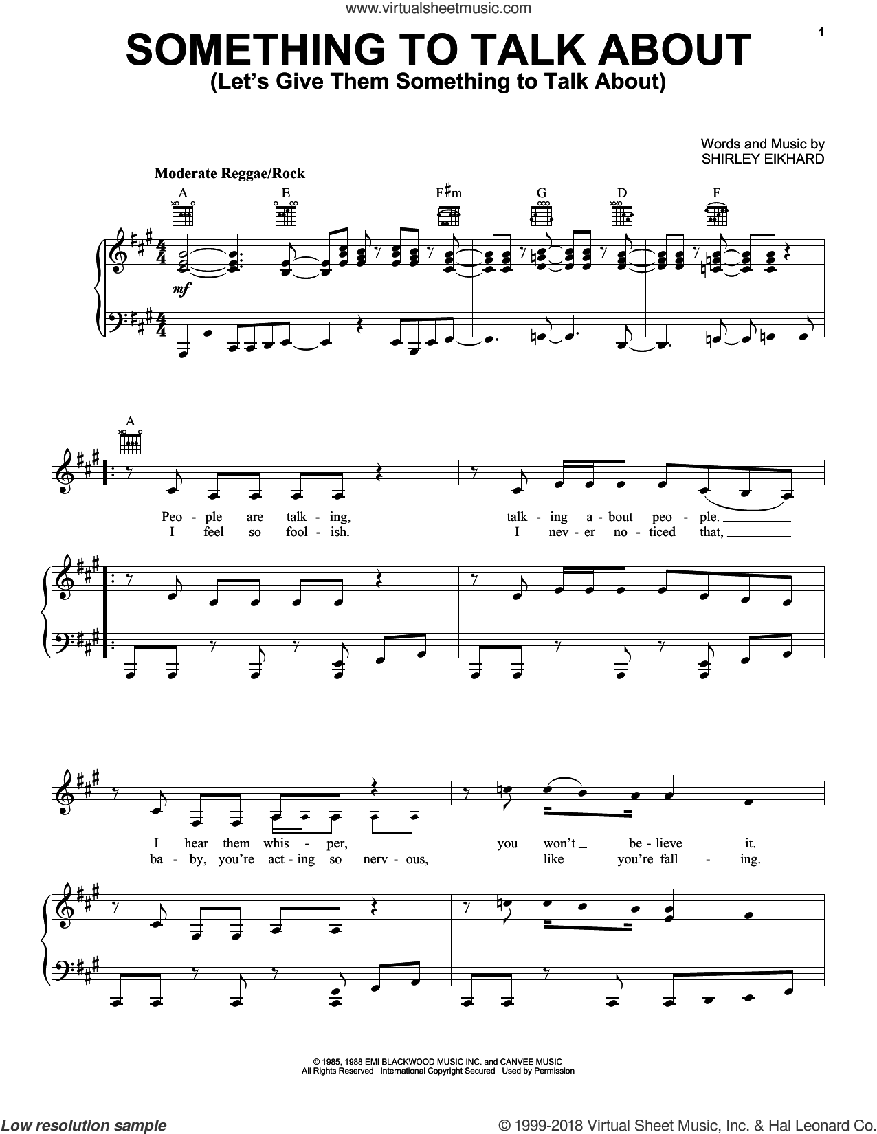Something To Talk About (Let's Give Them Something To Talk About) sheet music for voice, piano or guitar by Bonnie Raitt and Shirley Eikhard, intermediate skill level