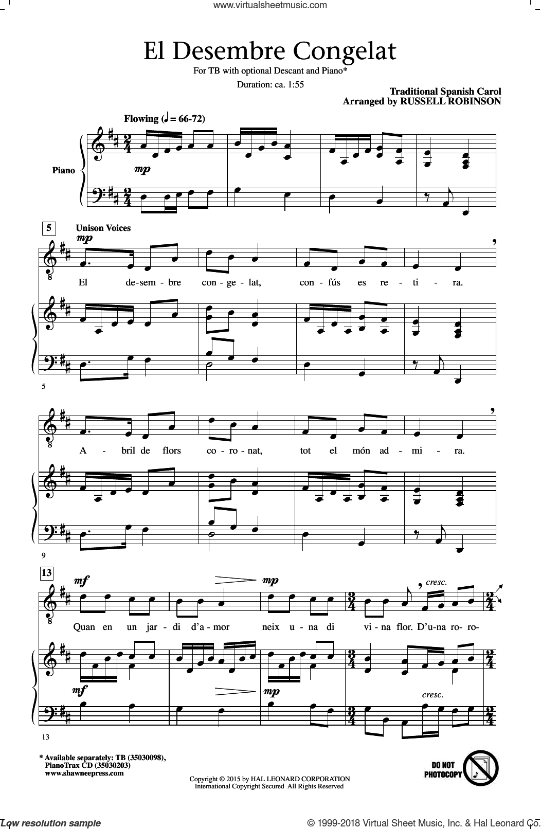 El Desembre Congelat sheet music for choir and piano (TB) by Russell Robinson. Score Image Preview.