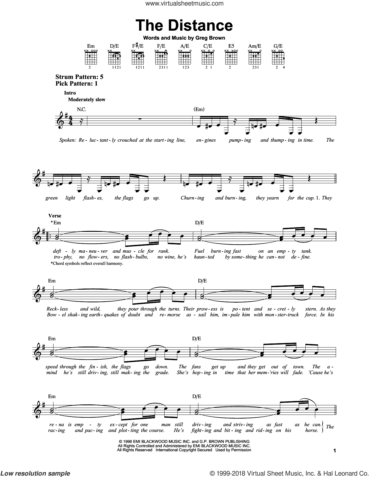 The Distance sheet music for guitar solo (chords) by Cake and Greg Brown, easy guitar (chords). Score Image Preview.