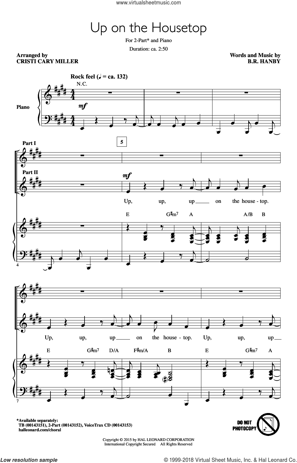 Up On The Housetop sheet music for choir (duets) by Benjamin Hanby and Cristi Cary Miller, Christmas carol score, intermediate duet. Score Image Preview.