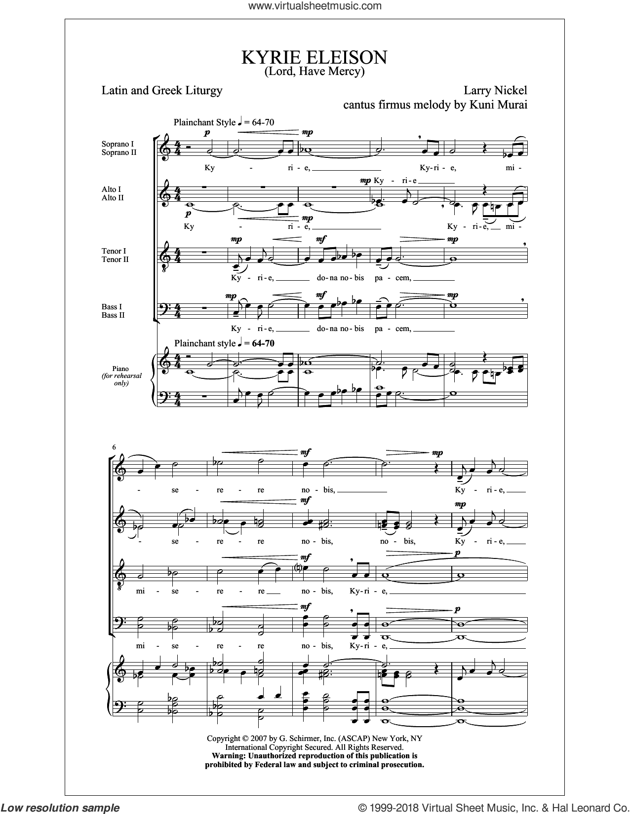 Kyrie Eleison (Lord, Have Mercy) sheet music for choir (SATB: soprano, alto, tenor, bass) by Larry Nickel and Jon Washburn, classical score, intermediate skill level