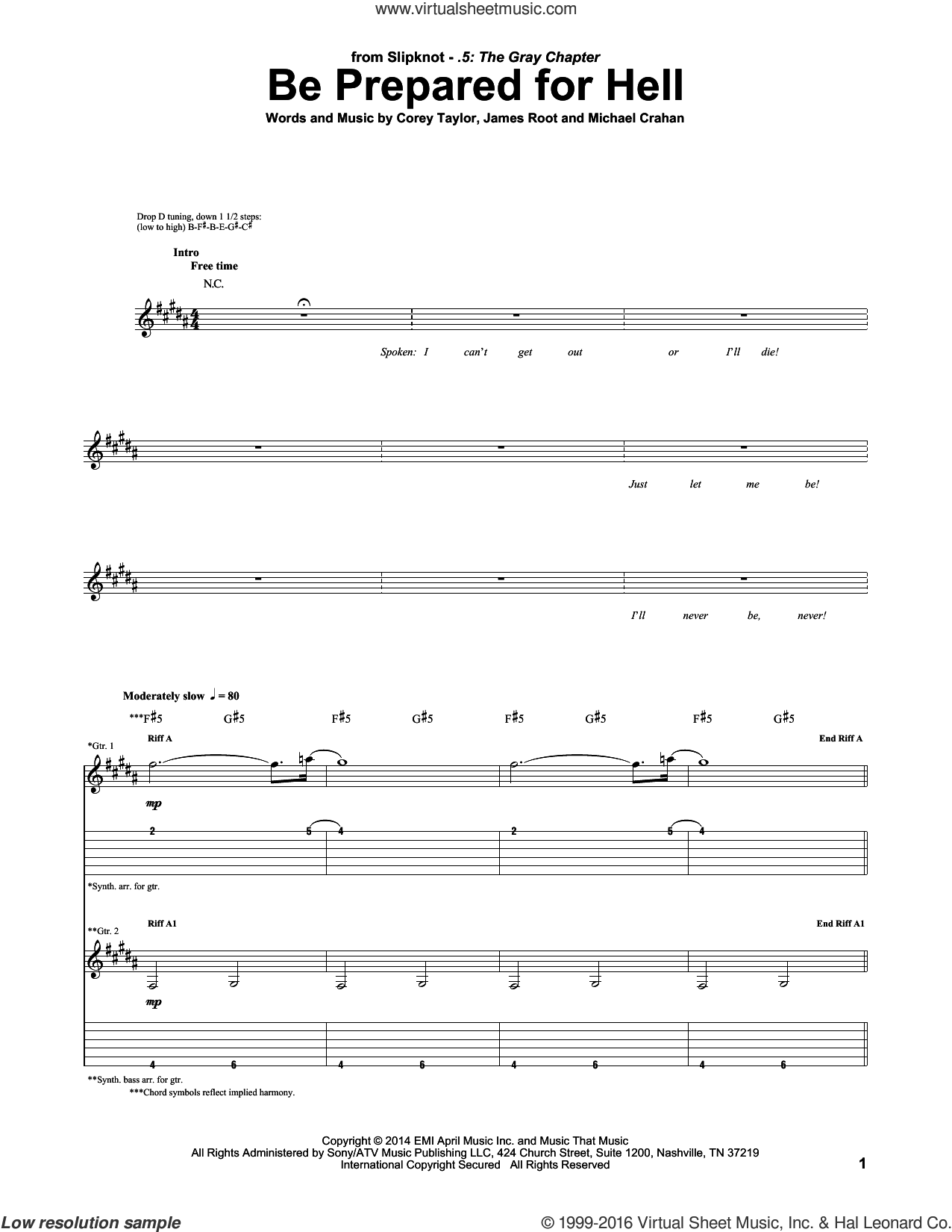 Be Prepared For Hell sheet music for guitar (tablature) by Slipknot, intermediate. Score Image Preview.