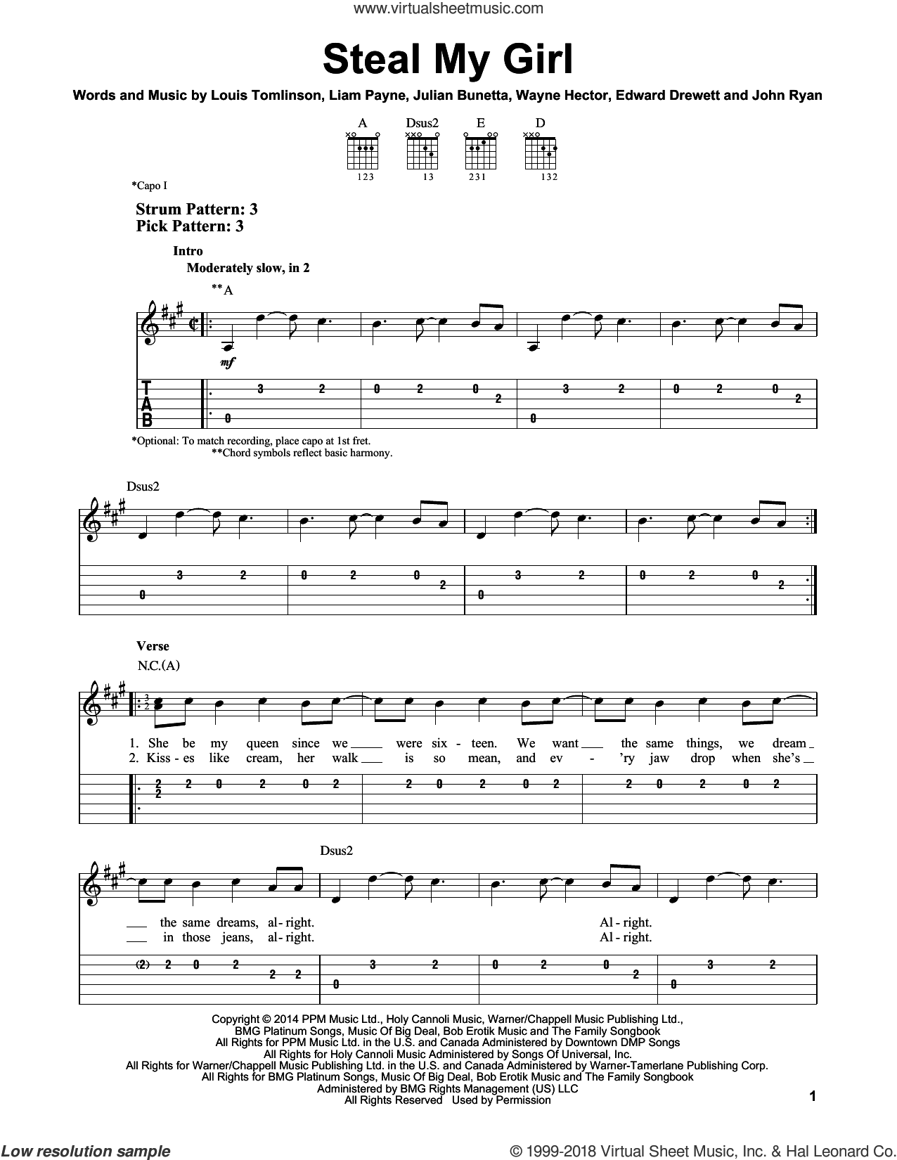 Steal My Girl sheet music for guitar solo (easy tablature) by One Direction, Edward Drewett, John Ryan, Julian Bunetta, Liam Payne, Louis Tomlinson and Wayne Hector, easy guitar (easy tablature). Score Image Preview.