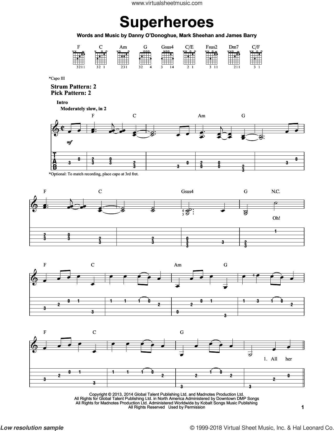 Superheroes sheet music for guitar solo (easy tablature) by The Script, James Barry and Mark Sheehan, easy guitar (easy tablature)