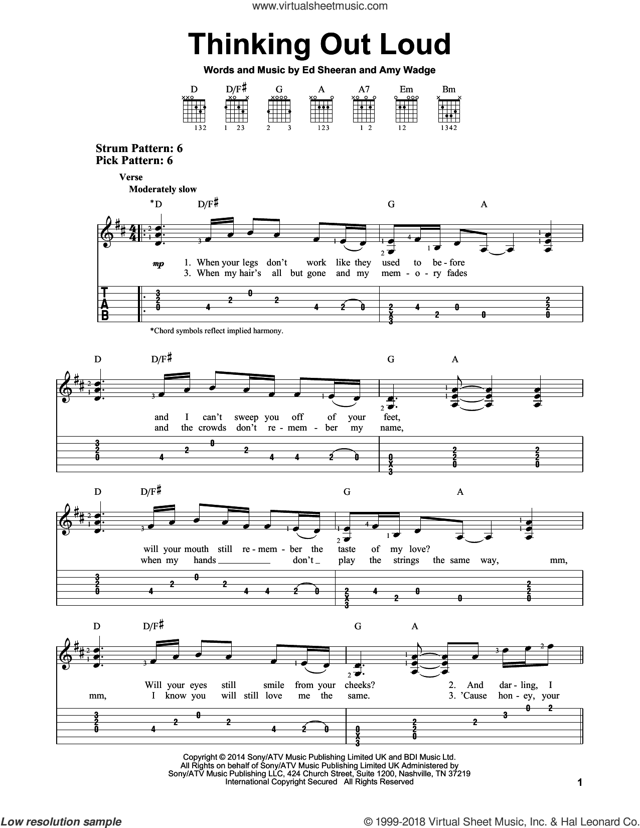 Thinking Out Loud sheet music for guitar solo (easy tablature) by Ed Sheeran and Amy Wadge, easy guitar (easy tablature)