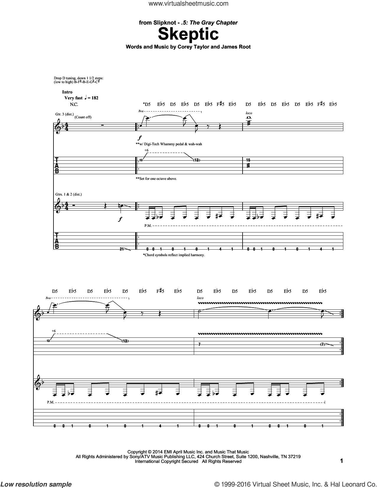 Skeptic sheet music for guitar (tablature) by Slipknot, intermediate guitar (tablature). Score Image Preview.