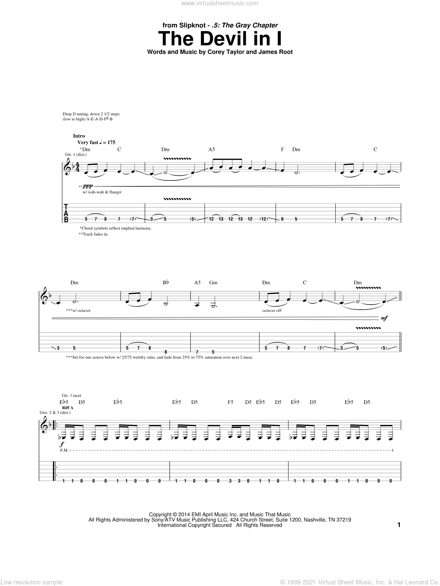 The Devil In I sheet music for guitar (tablature) by Slipknot, Corey Taylor and James Root, intermediate skill level