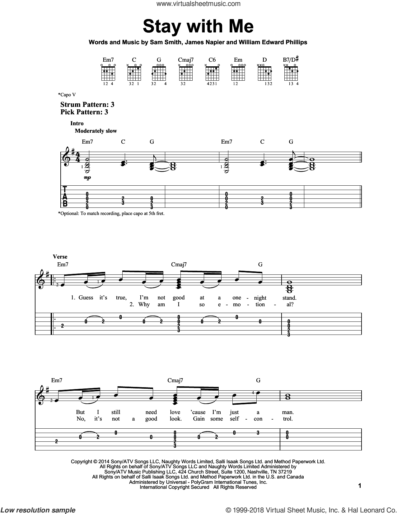 Stay With Me sheet music for guitar solo (easy tablature) by Sam Smith, James Napier and William Edward Phillips, easy guitar (easy tablature)