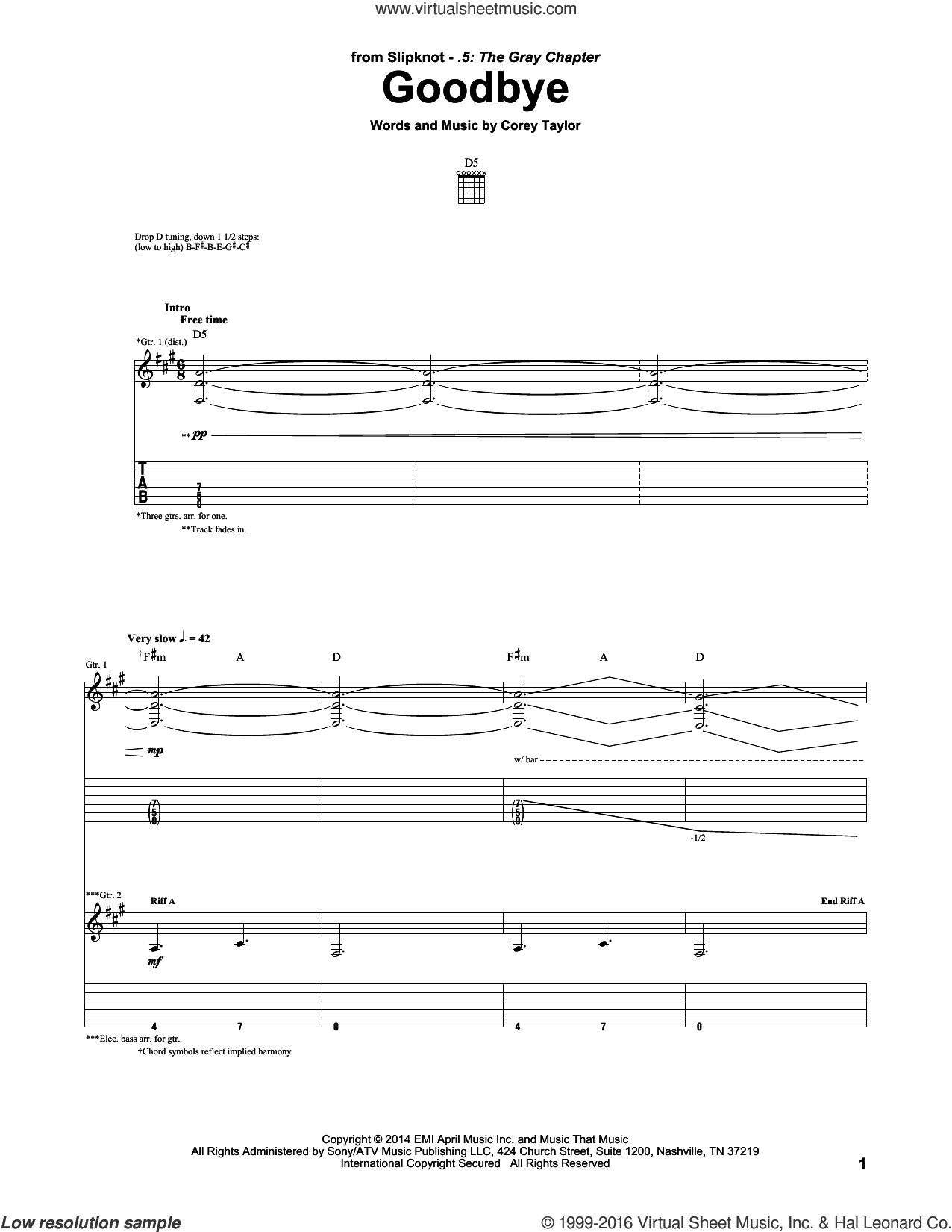 Goodbye sheet music for guitar (tablature) by Corey Taylor and Slipknot. Score Image Preview.