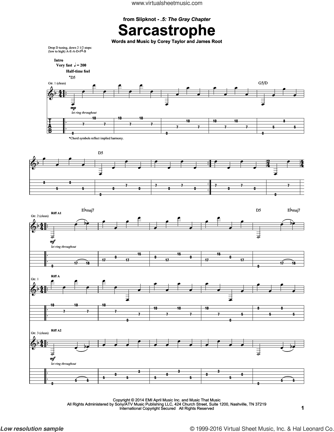 Sarcastrophe sheet music for guitar (tablature) by James Root, Slipknot and Corey Taylor. Score Image Preview.