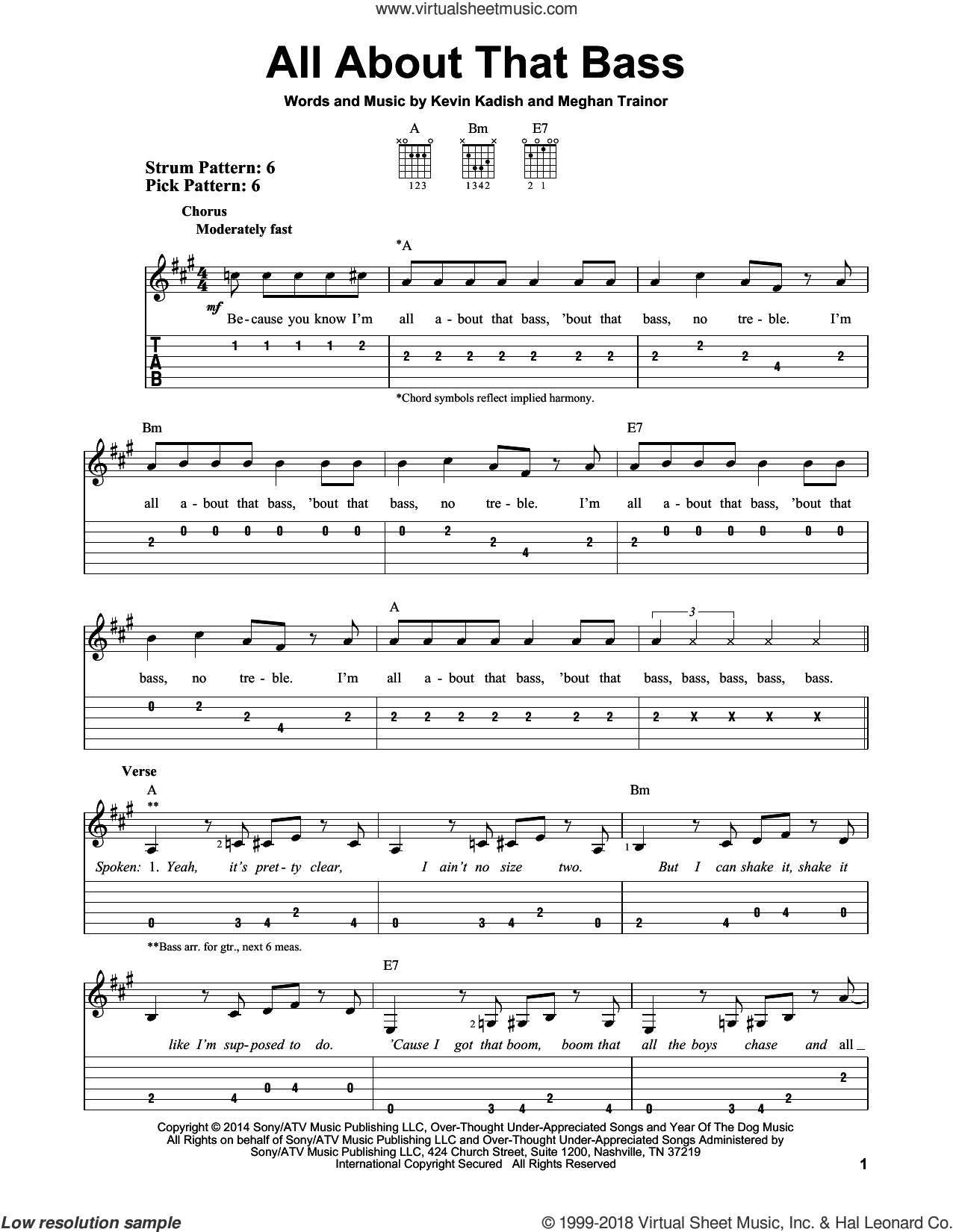 All About That Bass sheet music for guitar solo (easy tablature) by Kevin Kadish and Meghan Trainor. Score Image Preview.