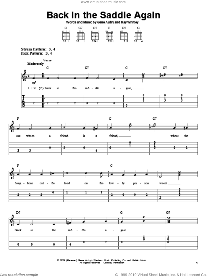 Back In The Saddle Again sheet music for guitar solo (easy tablature) by Gene Autry and Ray Whitley, easy guitar (easy tablature). Score Image Preview.