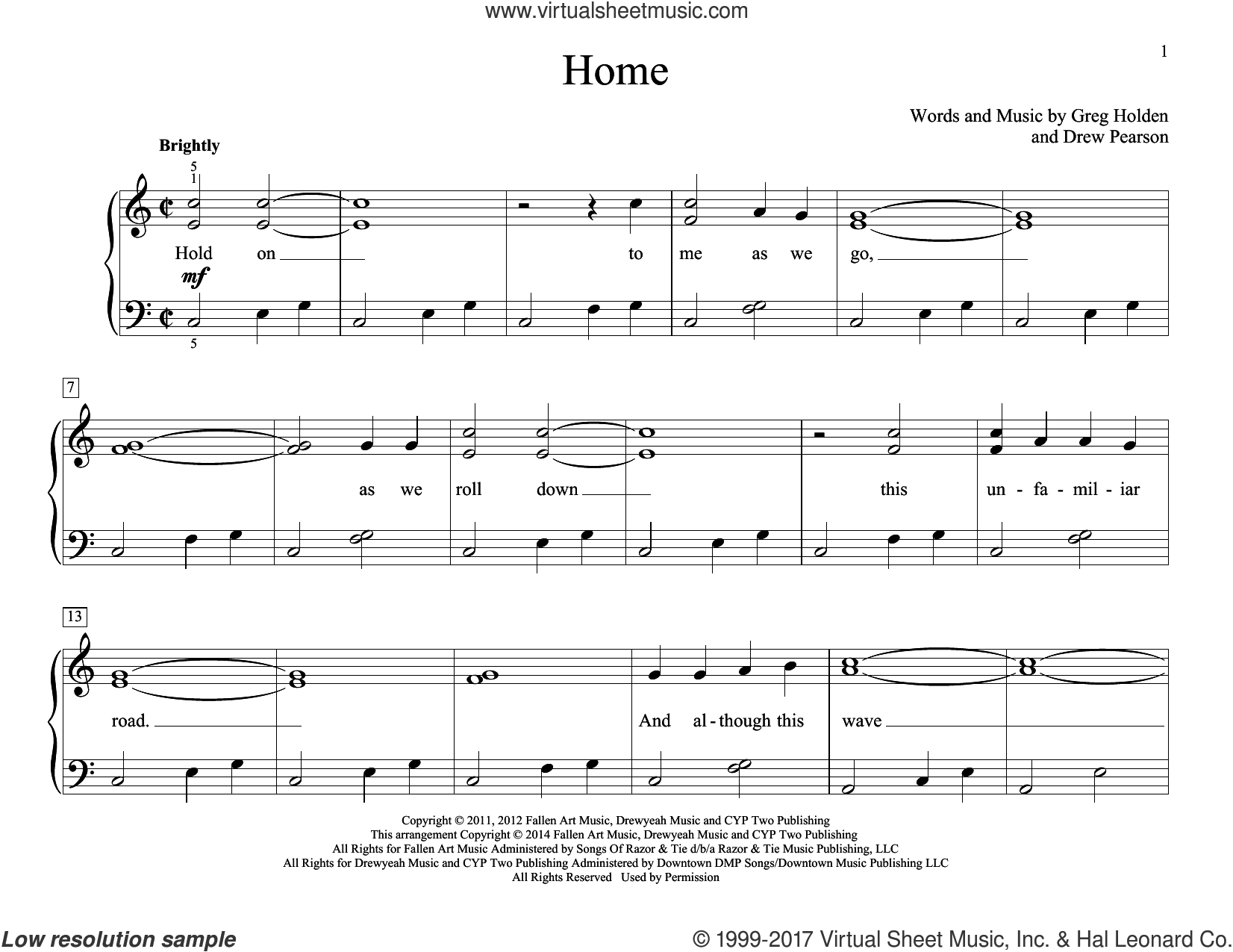 Home sheet music for piano solo (elementary) by John Thompson, Phillip Phillips, Drew Pearson and Greg Holden, beginner piano (elementary)