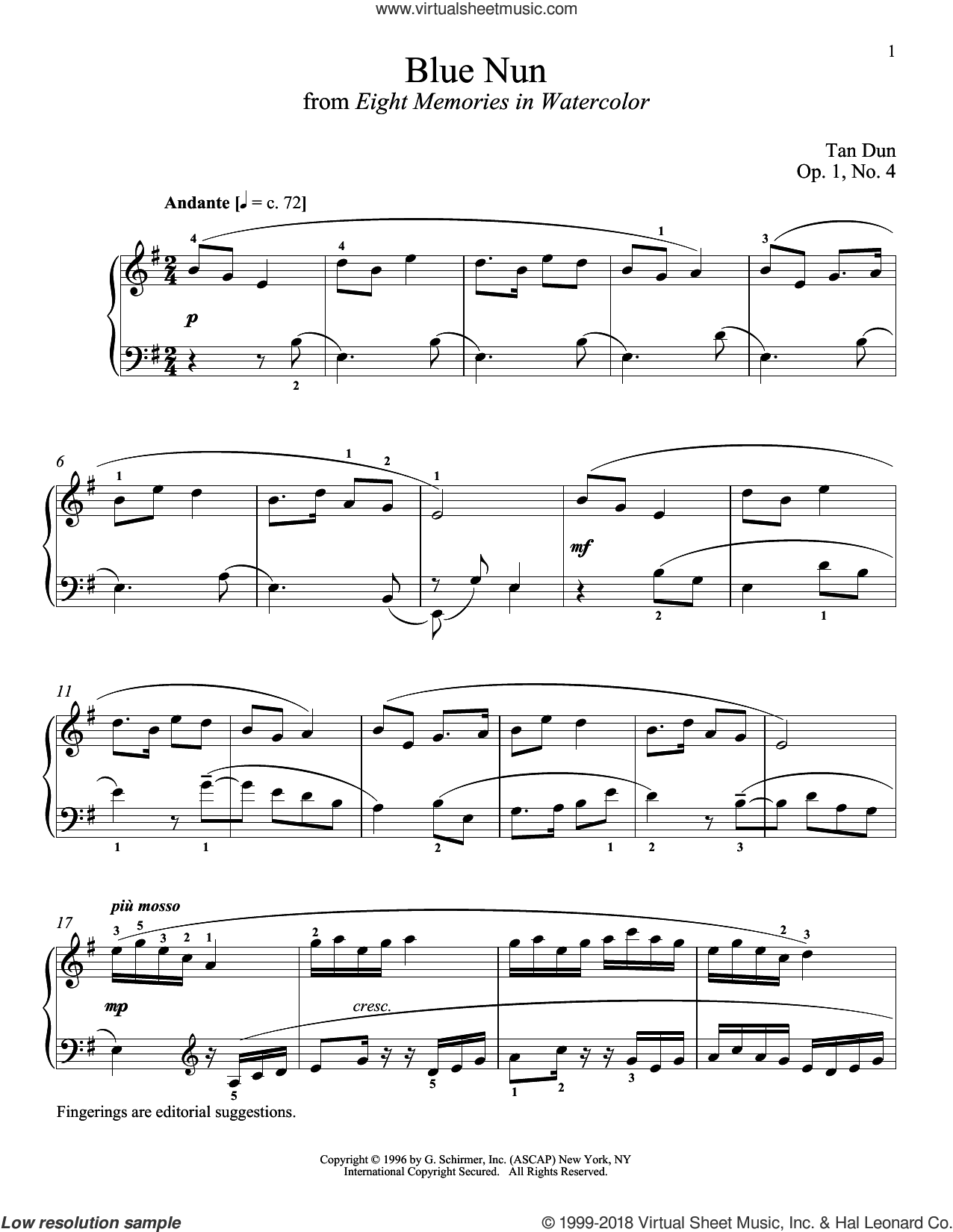 Blue Nun sheet music for piano solo by Tan Dun and Richard Walters, classical score, intermediate skill level