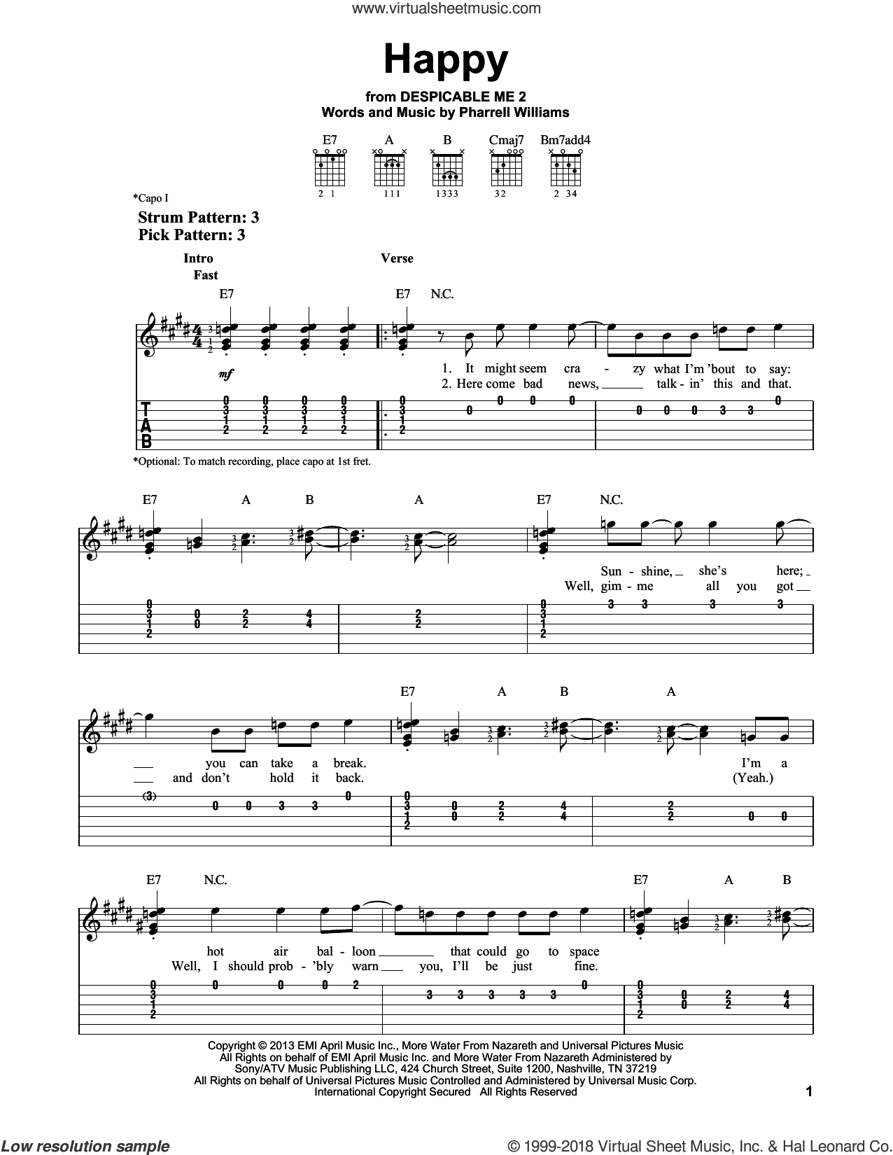 Happy sheet music for guitar solo (easy tablature) by Pharrell and Pharrell Williams. Score Image Preview.