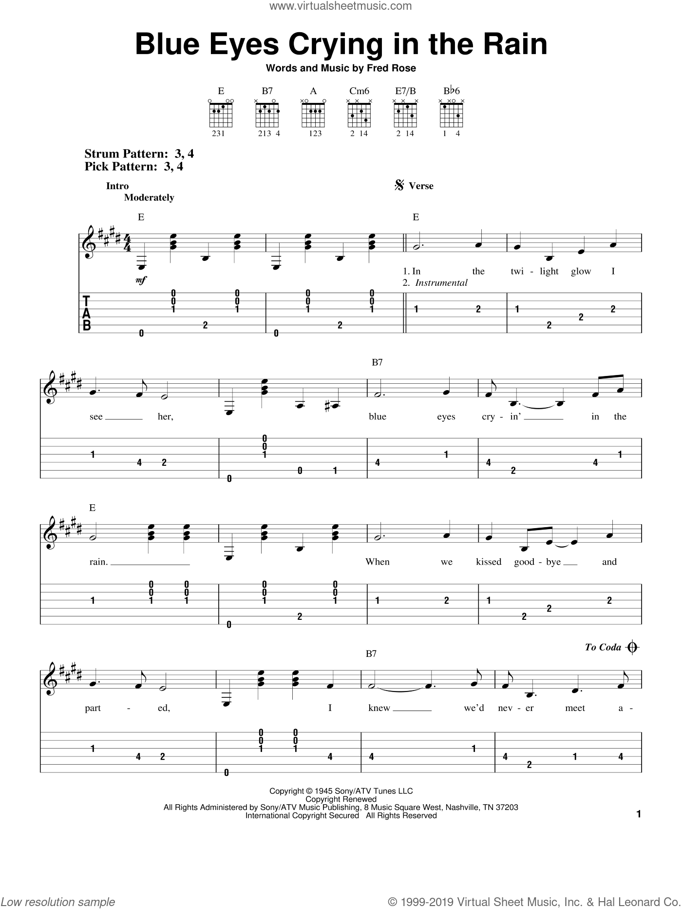 Blue Eyes Crying In The Rain sheet music for guitar solo (easy tablature) by Fred Rose, Elvis Presley and Willie Nelson. Score Image Preview.