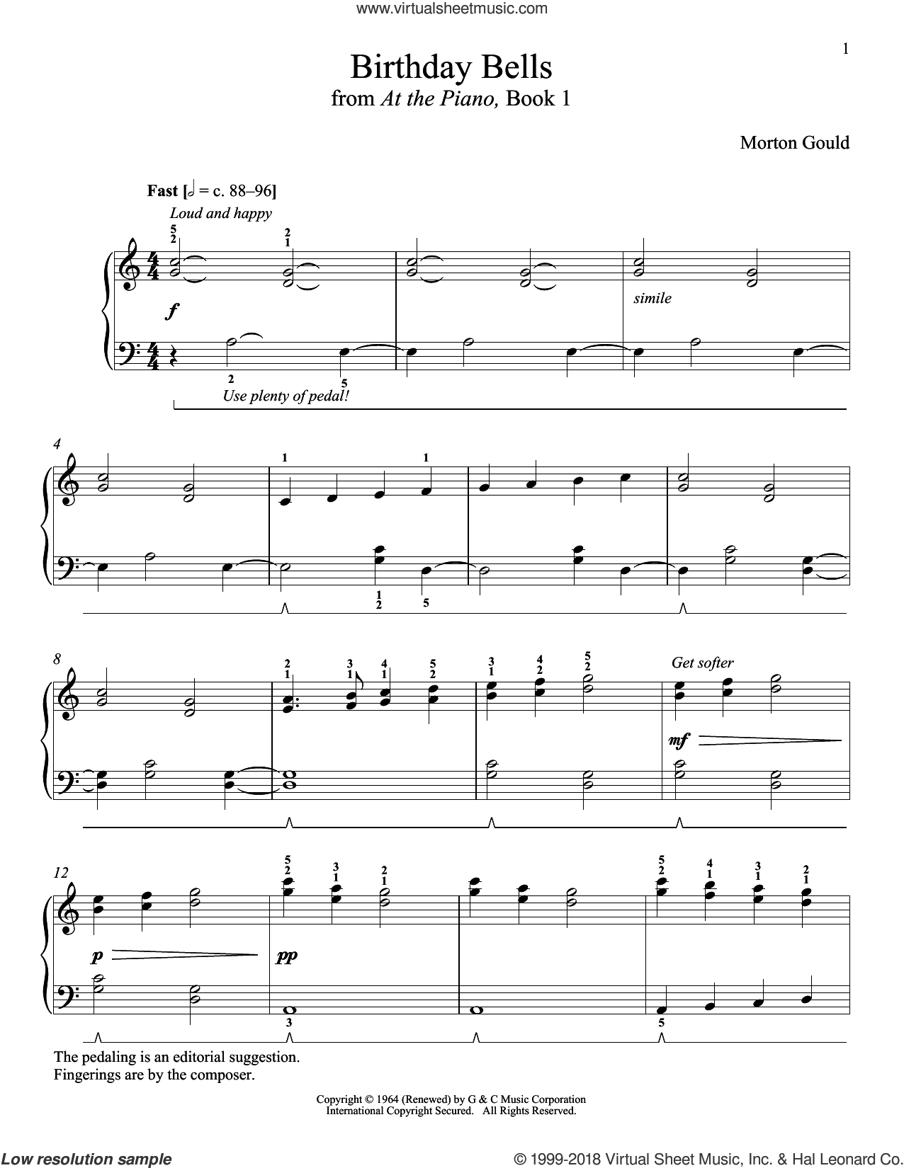 Birthday Bells sheet music for piano solo by Morton Gould and Richard Walters, classical score, intermediate skill level