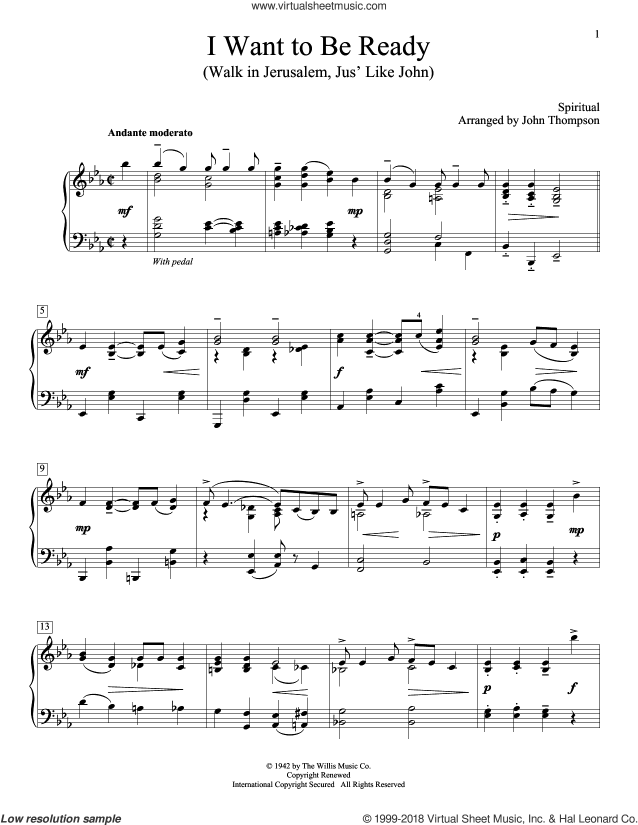 I Want To Be Ready (Walk In Jerusalem, Jus' Like John) sheet music for piano solo (elementary) by John Thompson. Score Image Preview.
