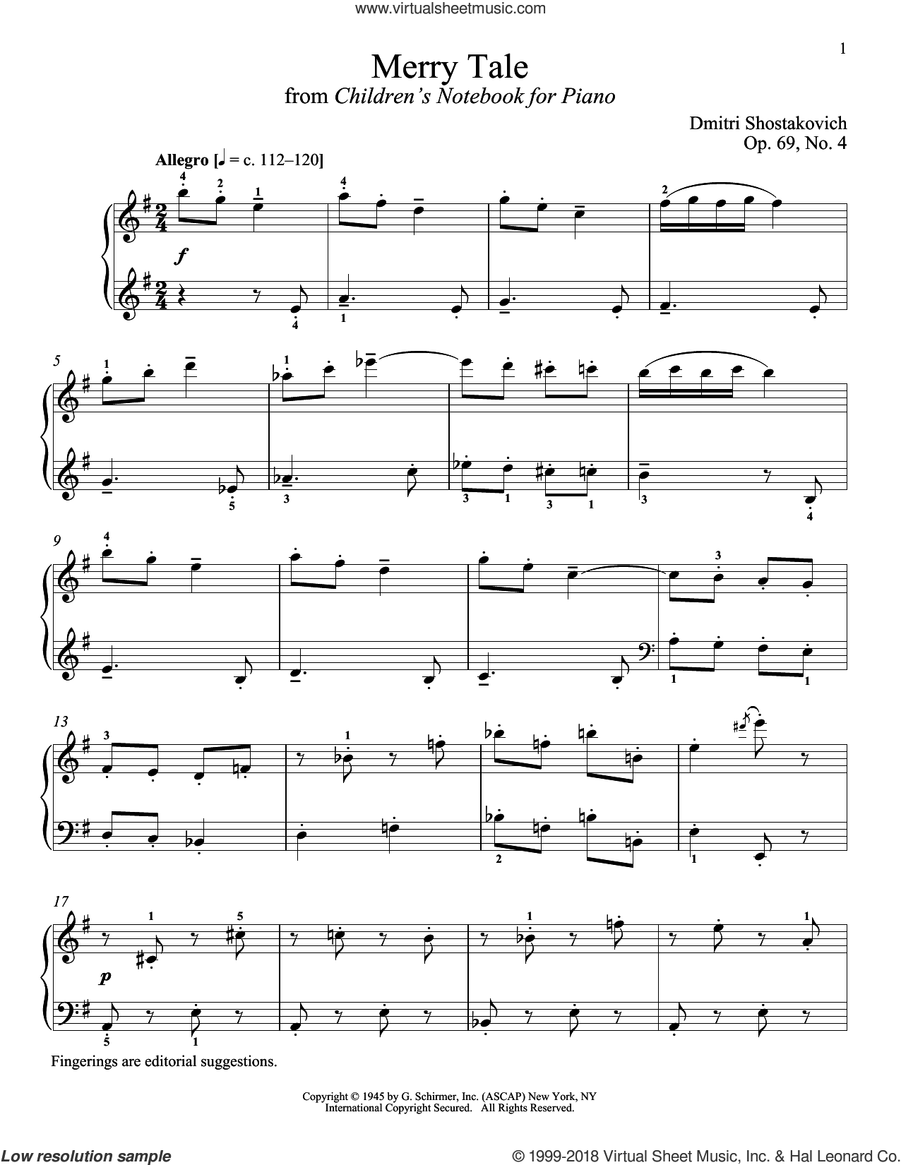 Merry Tale sheet music for piano solo by Dmitri Shostakovich and Richard Walters. Score Image Preview.