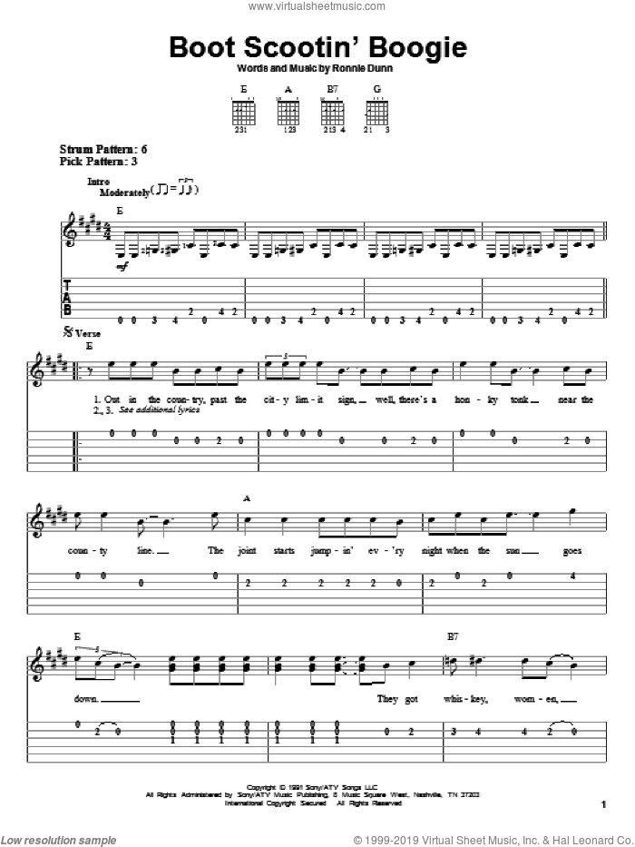 Boot Scootin' Boogie sheet music for guitar solo (easy tablature) by Ronnie Dunn