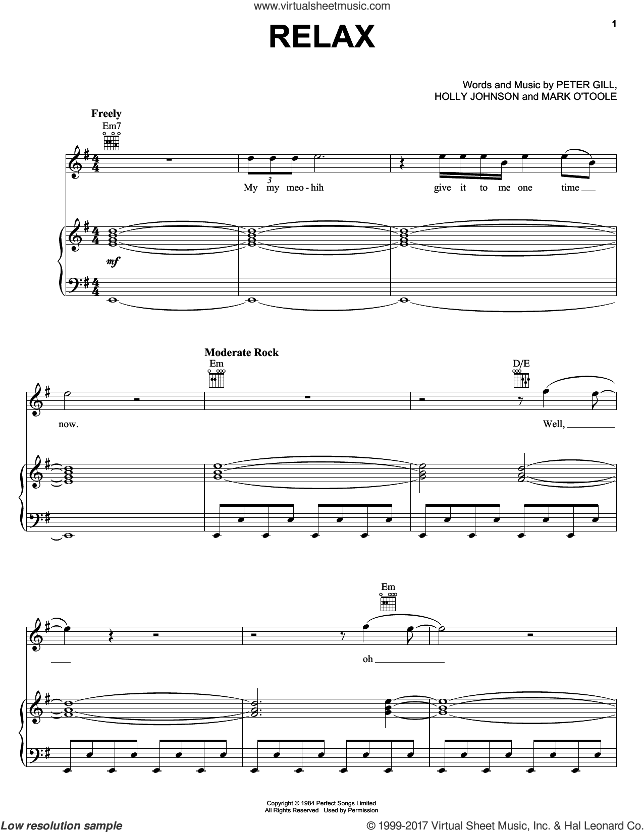 Relax sheet music for voice, piano or guitar by Peter Gill and Holly Johnson, intermediate skill level