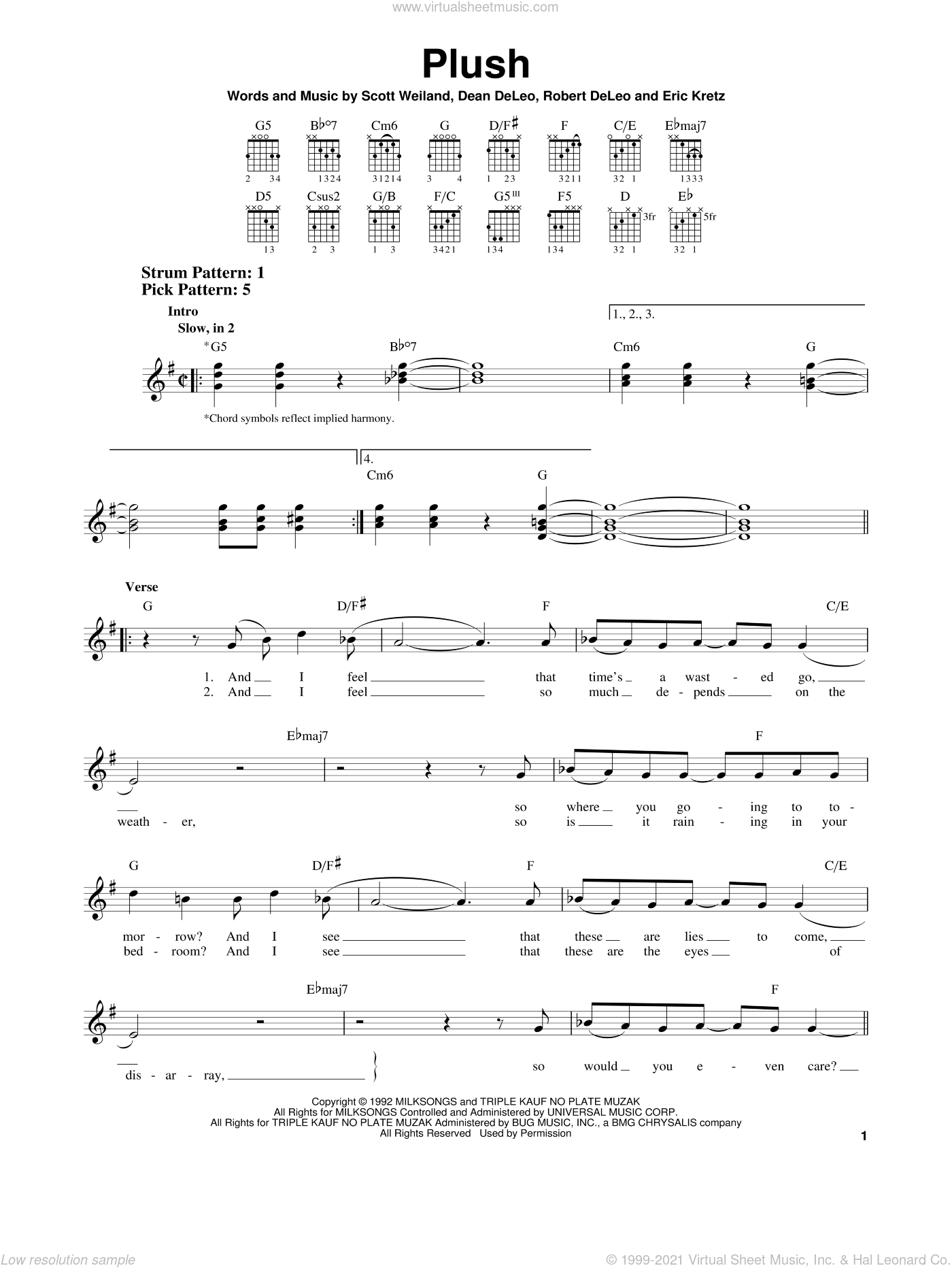Plush sheet music for guitar solo (chords) by Stone Temple Pilots, Dean DeLeo, Eric Kretz, Robert DeLeo and Scott Weiland, easy guitar (chords)